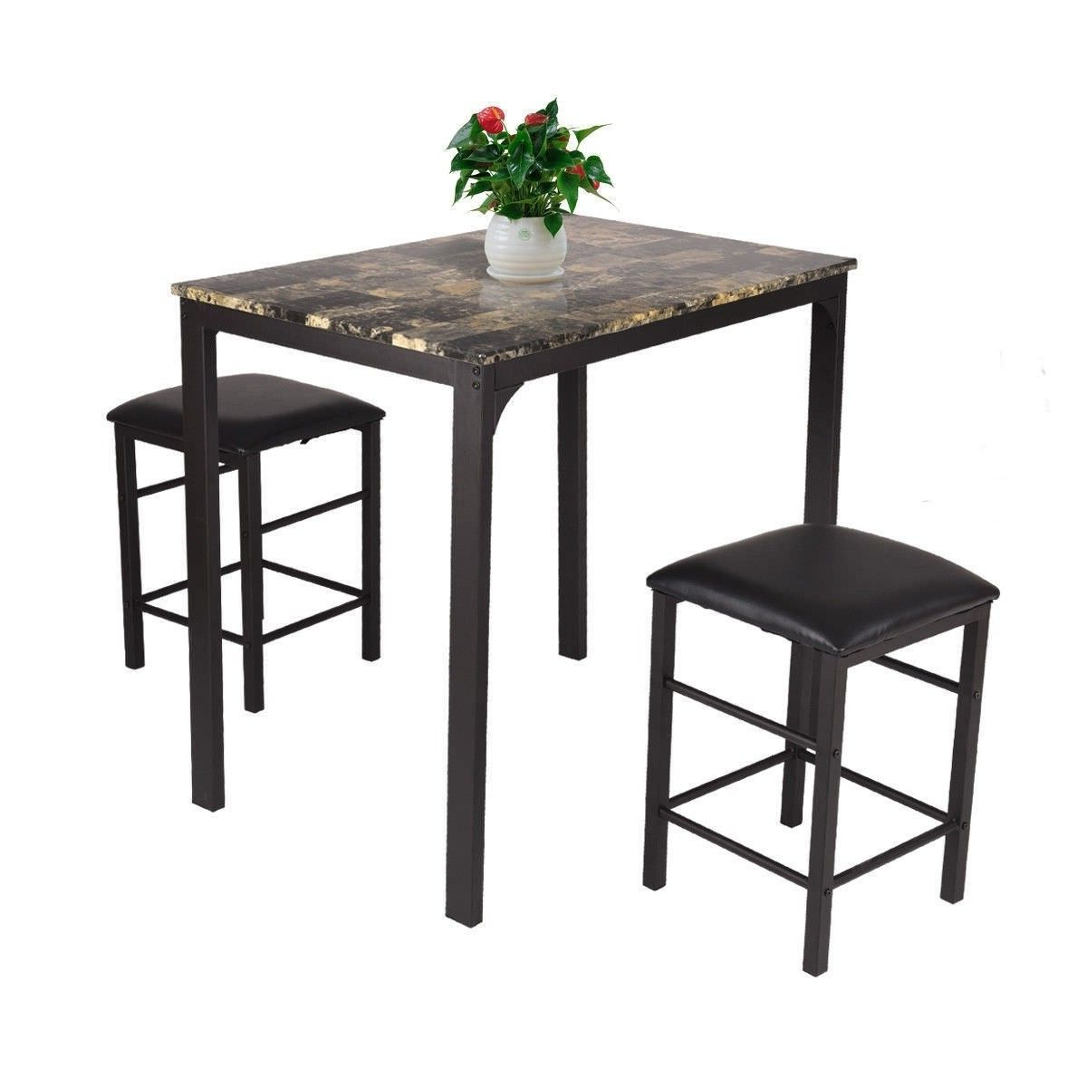 3 Piece Counter Height Dining Set Faux Marble Table Pertaining To Famous Sundberg 5 Piece Solid Wood Dining Sets (View 2 of 25)