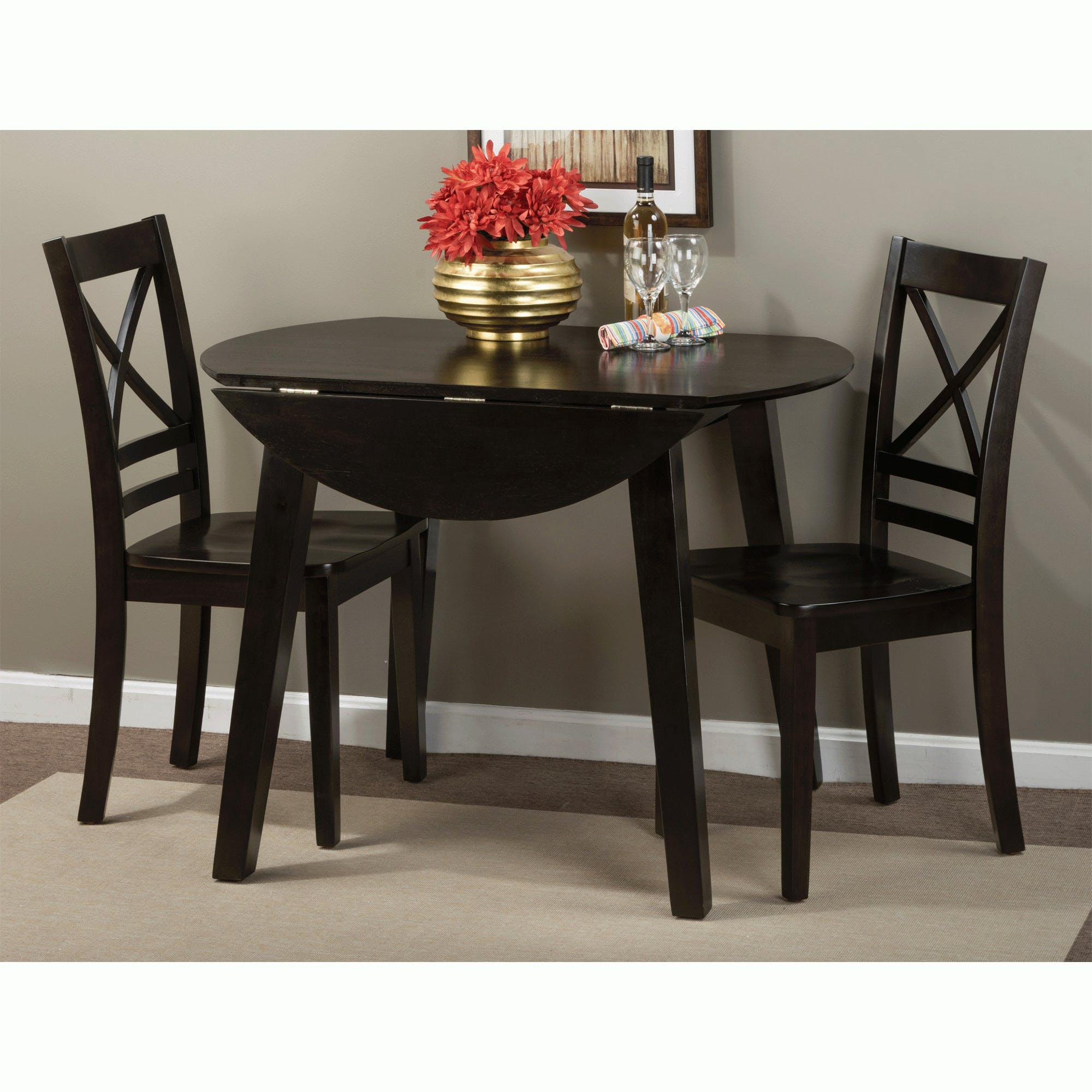3 Piece Dining Sets Pertaining To Widely Used Simplicity Espresso 3 Piece Dining Set (Drop Leaf Table With 2 Side (View 24 of 25)