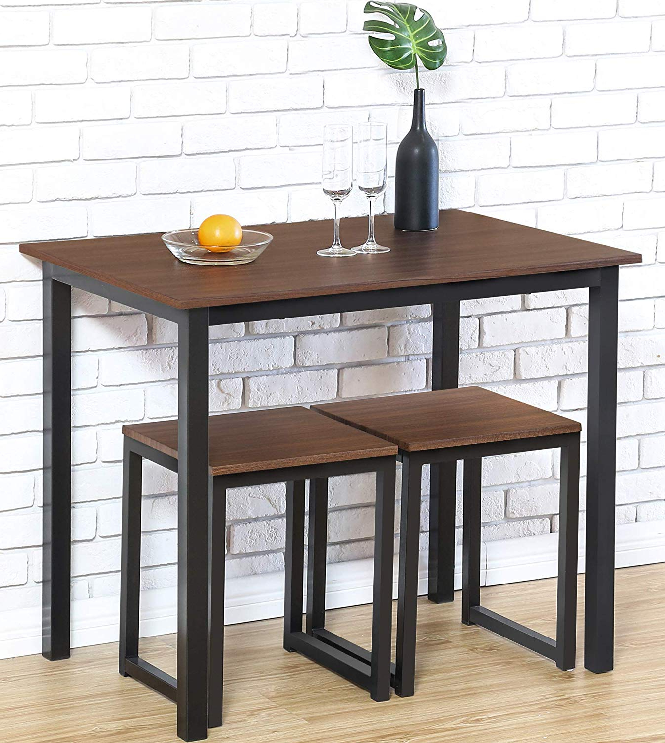 3 Piece Dining Sets With Current Amazon: Homury Modern Wood 3 Piece Dining Set Studio Collection (View 23 of 25)