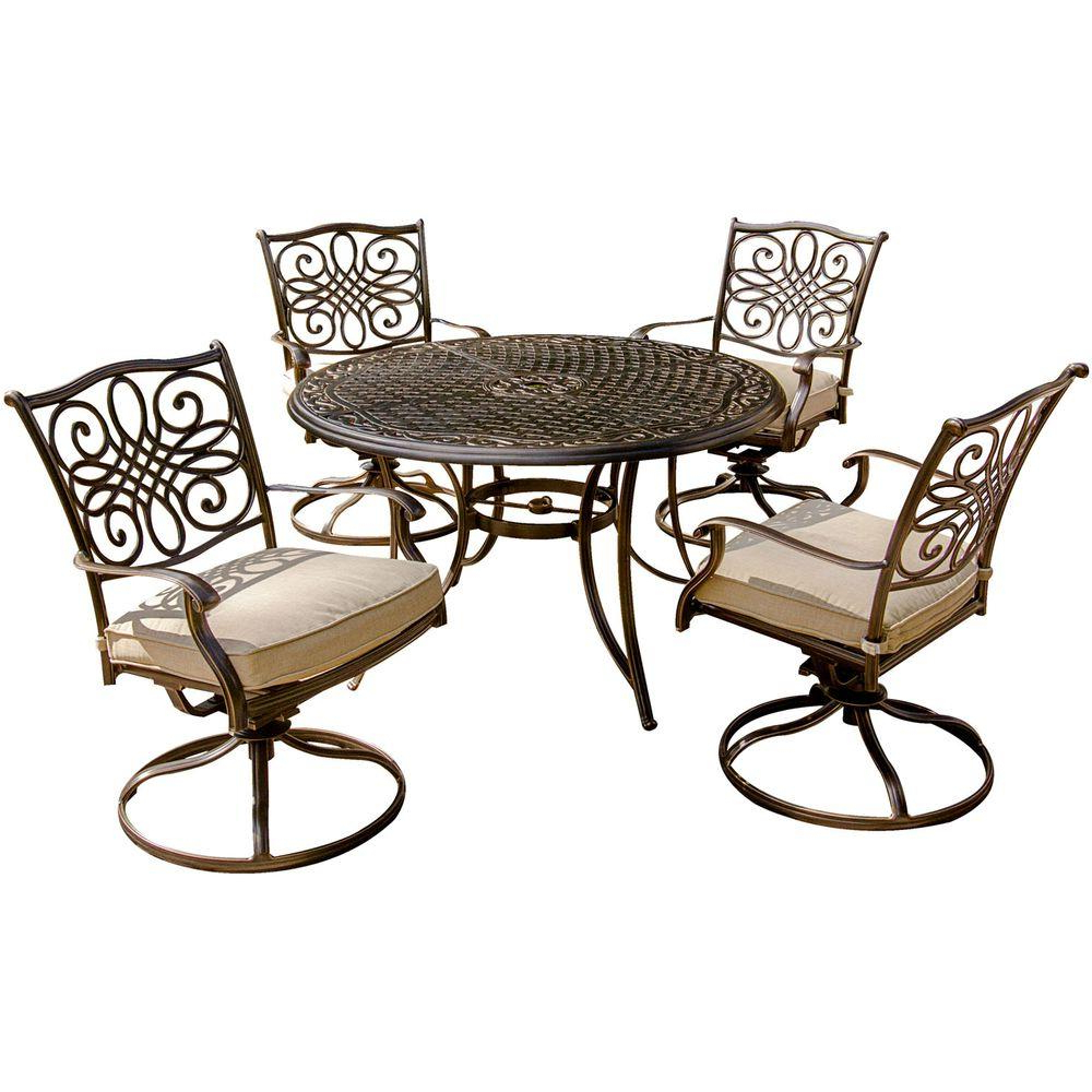 4 Person – Patio Dining Sets – Patio Dining Furniture – The Home Depot For Current Aria 5 Piece Dining Sets (View 25 of 25)