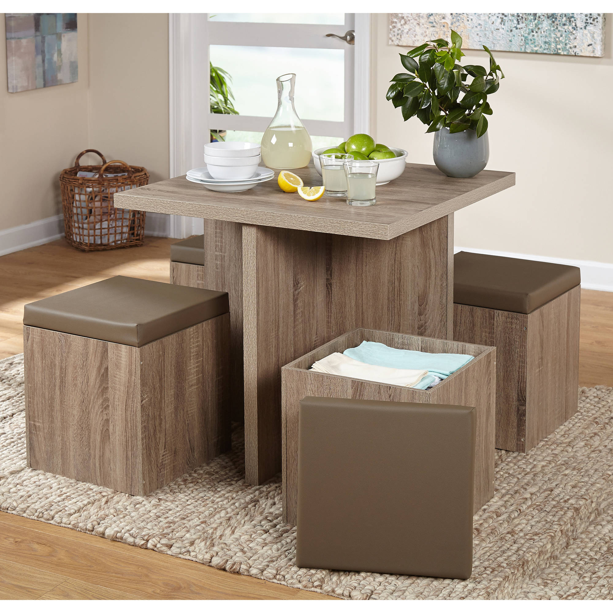 5-Piece Baxter Dining Set With Storage Ottoman, Multiple Colors with Well known Anette 3 Piece Counter Height Dining Sets