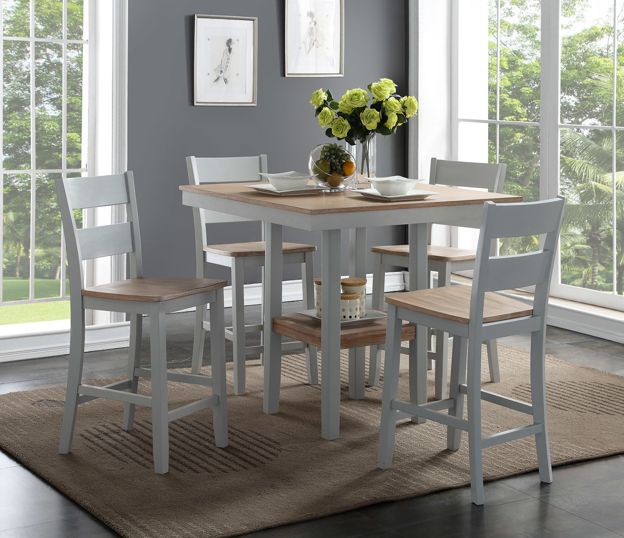 5 Piece Breakfast Nook Dining Sets Within Best And Newest August Grove Liesel Counter 5 Piece Breakfast Nook Solid Wood Dining (View 8 of 25)