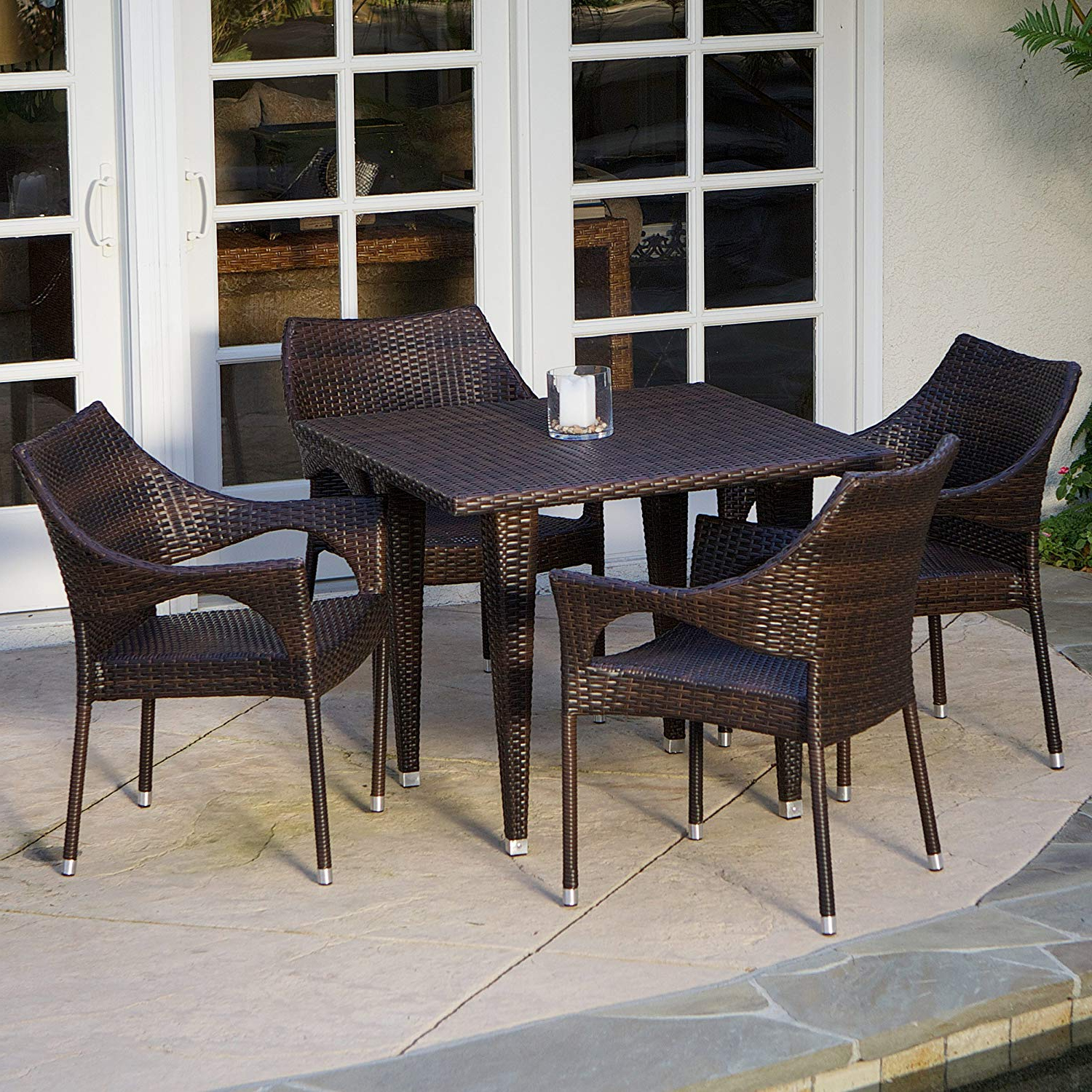 5 Piece Outdoor Wicker Dining Set With Intended For Delmar 5 Piece Dining Sets (View 14 of 25)