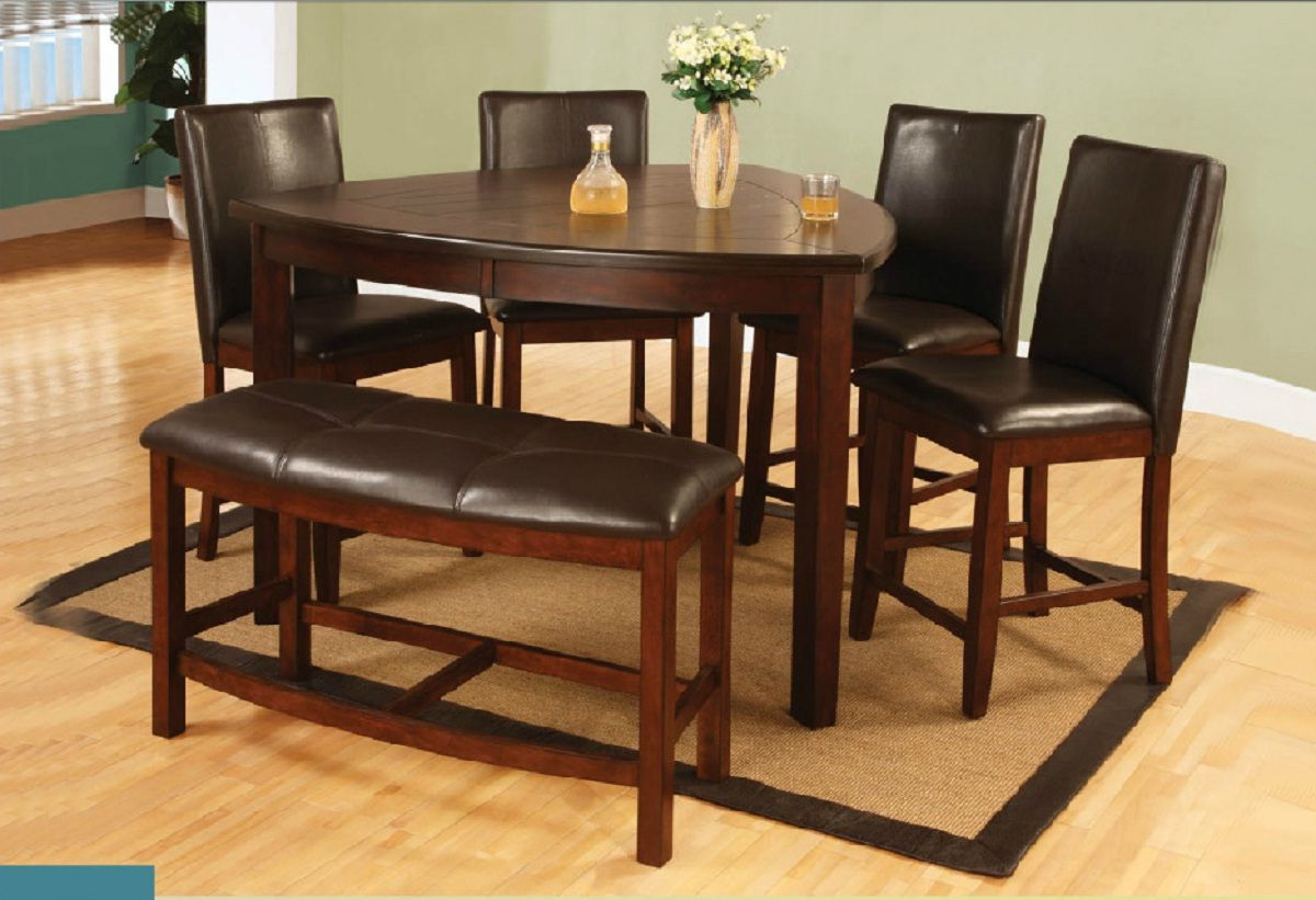 6 Pieces Triangle Counter Height Dining Set With Bench (View 2 of 25)