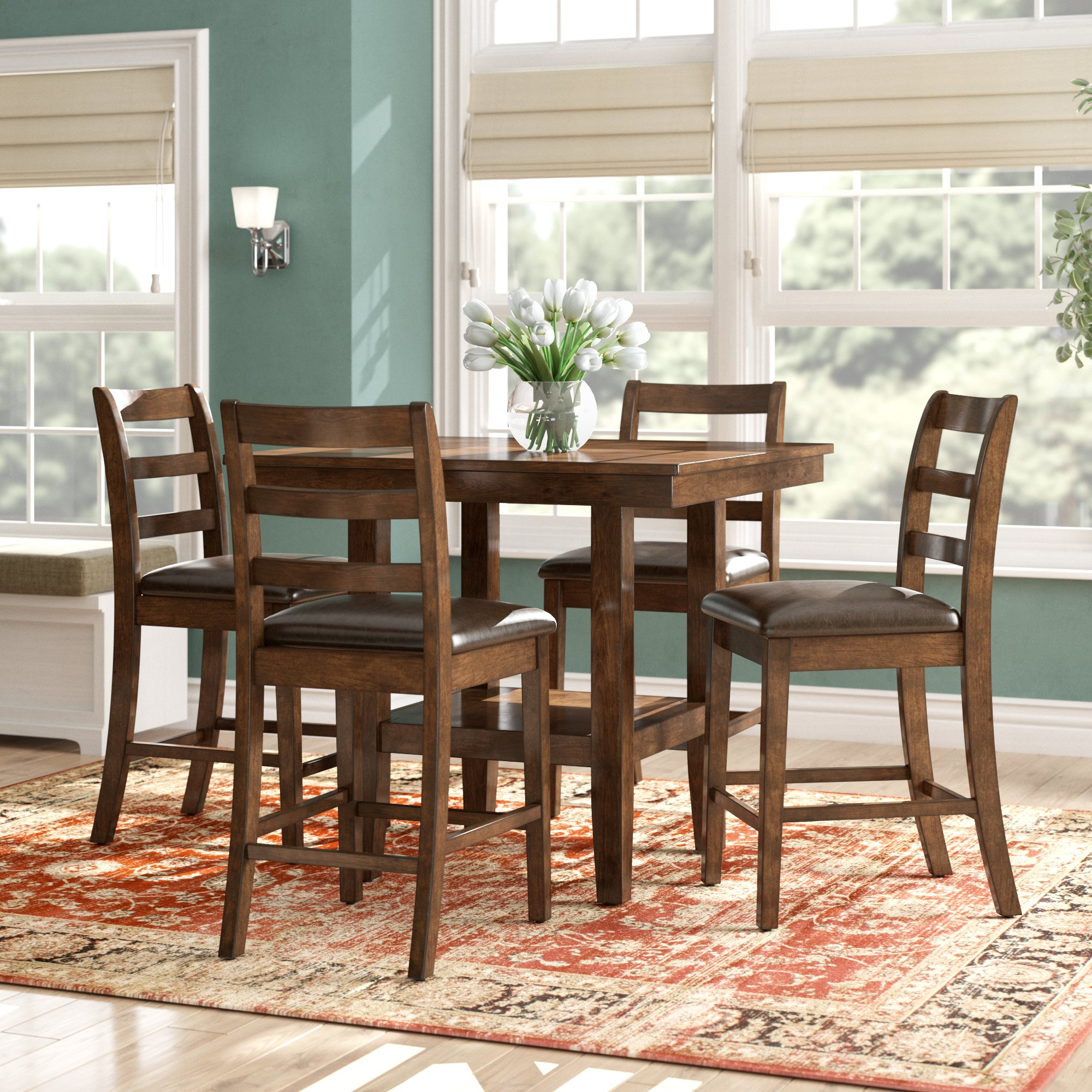 Alcott Hill Gosselin Contemporary 5 Piece Counter Height Dining Set Regarding Most Popular West Hill Family Table 3 Piece Dining Sets (View 1 of 25)
