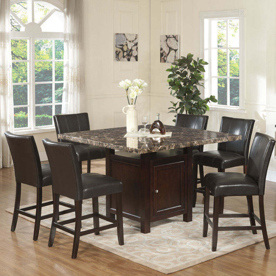 Alcott Hill Heffington 7 Piece Counter Height Dining Set & Reviews With Regard To Favorite Askern 3 Piece Counter Height Dining Sets (Set Of 3) (View 7 of 25)