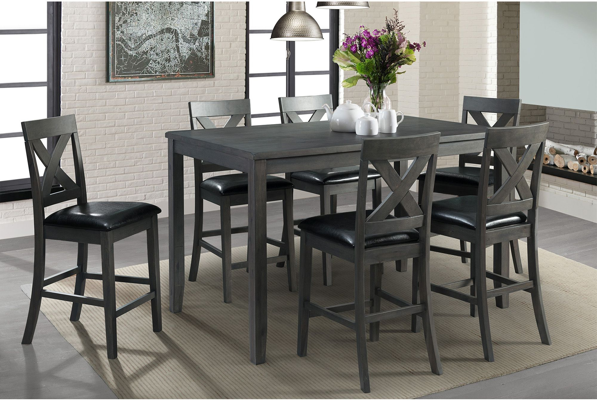 Alexa Gray 7 Piece Counter Height Dining Set From Elements Furniture Within Preferred Kinsler 3 Piece Bistro Sets (View 18 of 25)