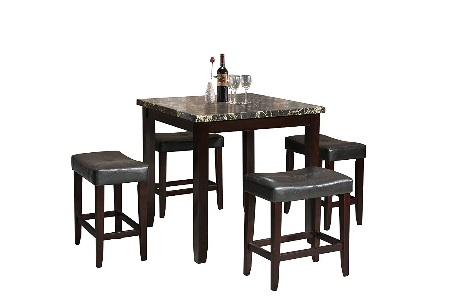 Amazon – Acme Ainsley Counter Height Set (5 Pack) – Table With Popular Biggs 5 Piece Counter Height Solid Wood Dining Sets (Set Of 5) (View 7 of 25)