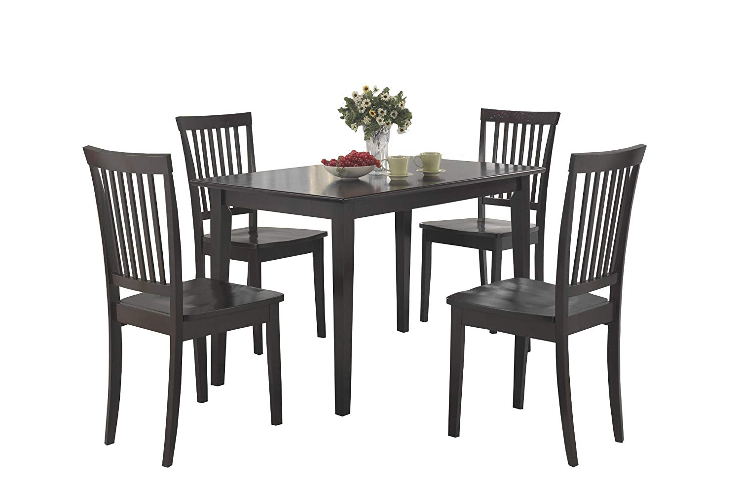Amazon – Coaster 5 Piece Dining Set, Table Top With 4 Chairs Inside 2019 Kieffer 5 Piece Dining Sets (View 24 of 25)