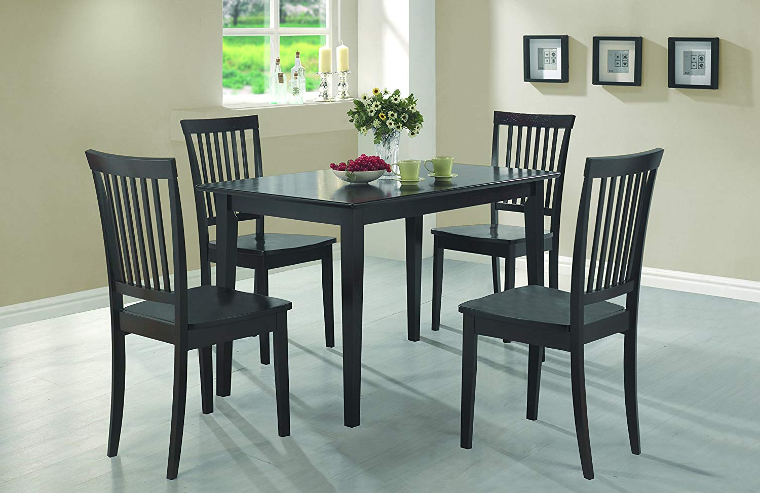 Amazon – Coaster 5 Piece Dining Set, Table Top With 4 Chairs Throughout Most Up To Date Kieffer 5 Piece Dining Sets (View 4 of 25)