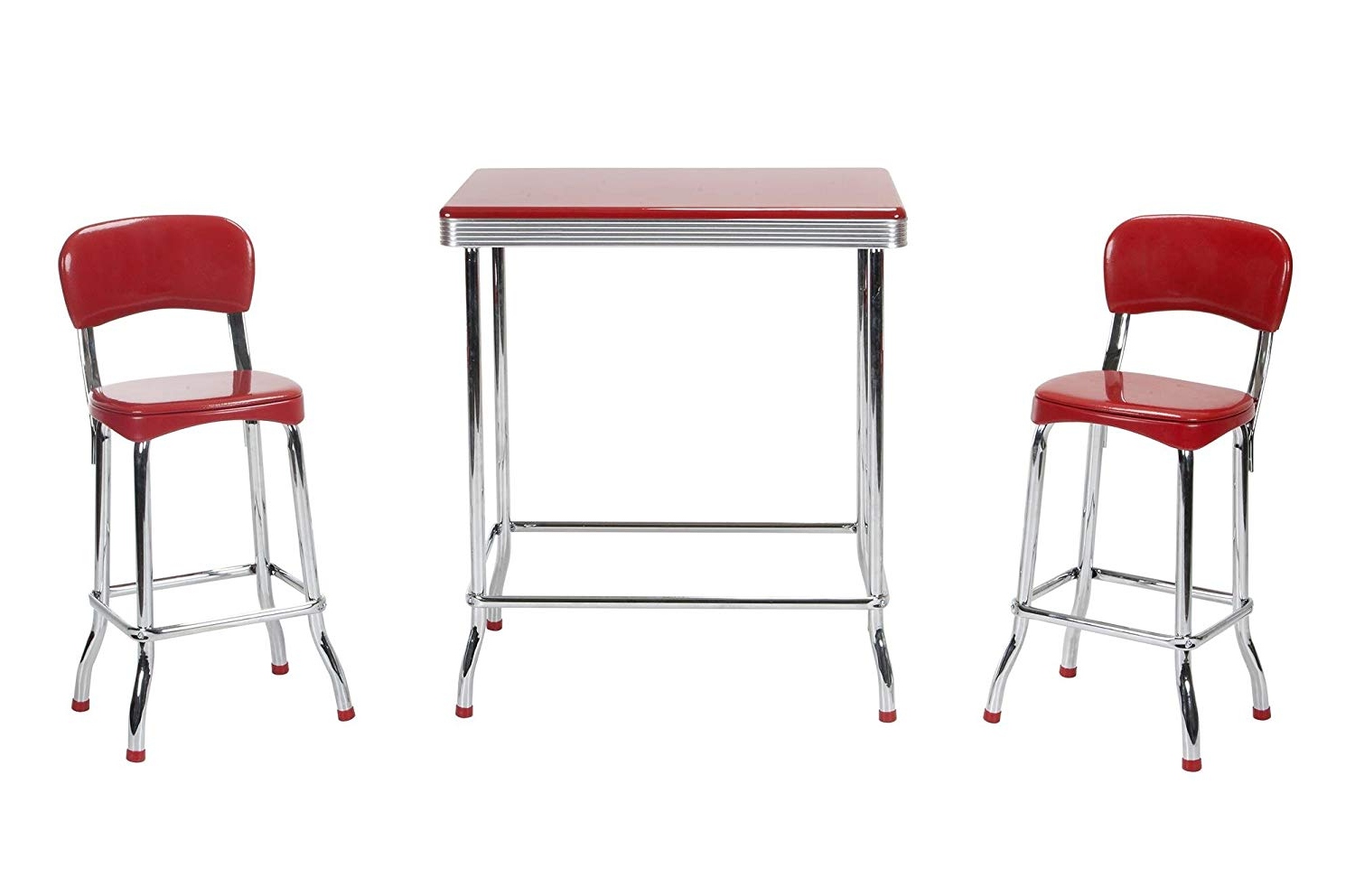 Amazon: Cosco Red Retro Chrome 3Pc High Top Set, Red: Kitchen In Well Known Bate Red Retro 3 Piece Dining Sets (View 2 of 25)