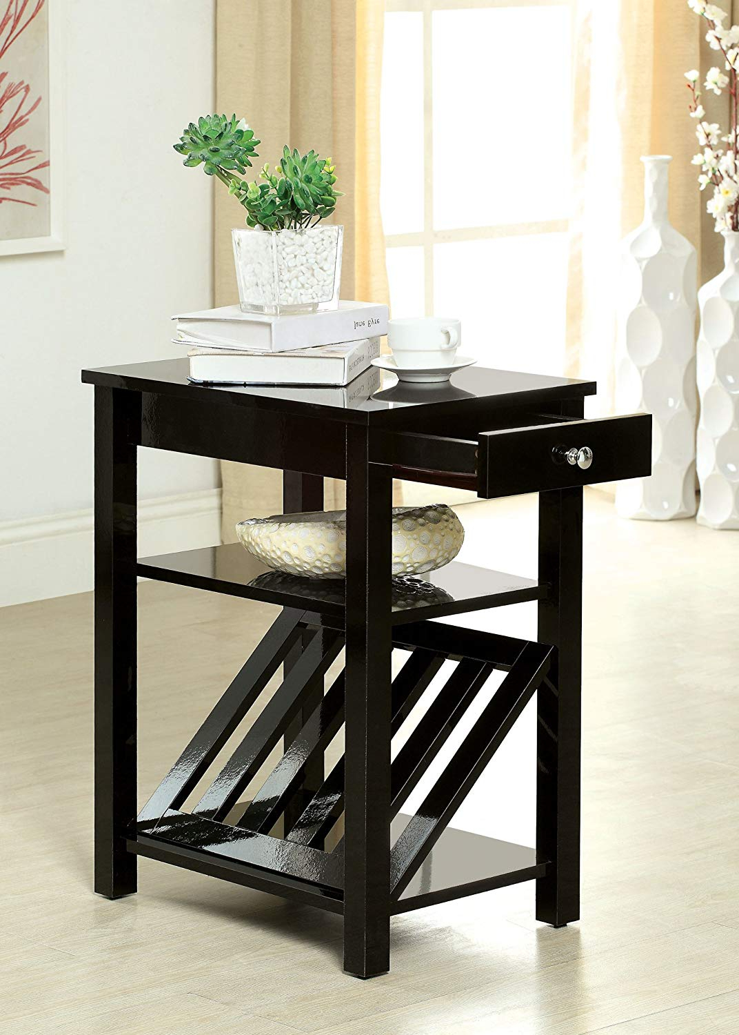 Amazon: Furniture Of America Erhart Ii 1 Drawer Side Table With Inside Fashionable Queener 5 Piece Dining Sets (View 4 of 25)