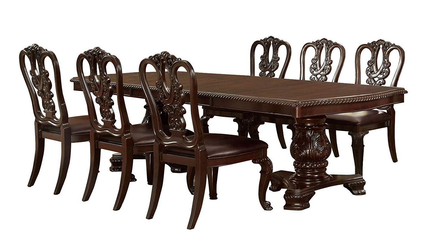 Amazon – Furniture Of America Evangelyn 7 Piece Dining Set With Intended For Famous Linette 5 Piece Dining Table Sets (View 2 of 25)