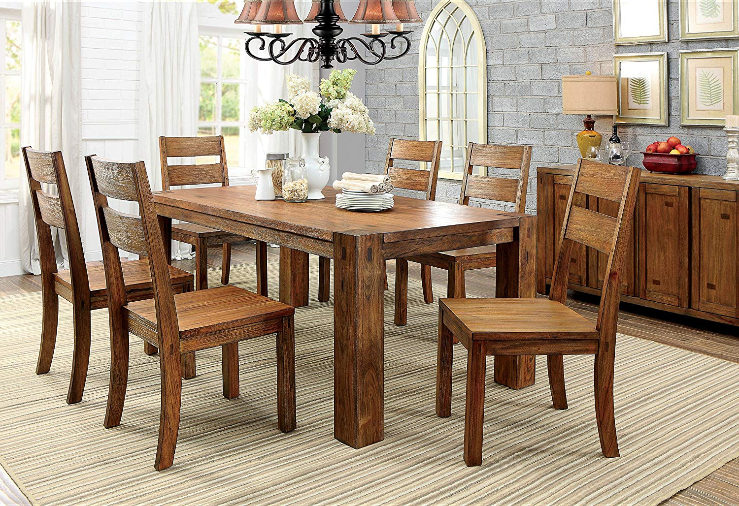 Amazon – Furniture Of America Maynard 7 Piece Wooden Dining Set For Widely Used Maynard 5 Piece Dining Sets (View 1 of 25)