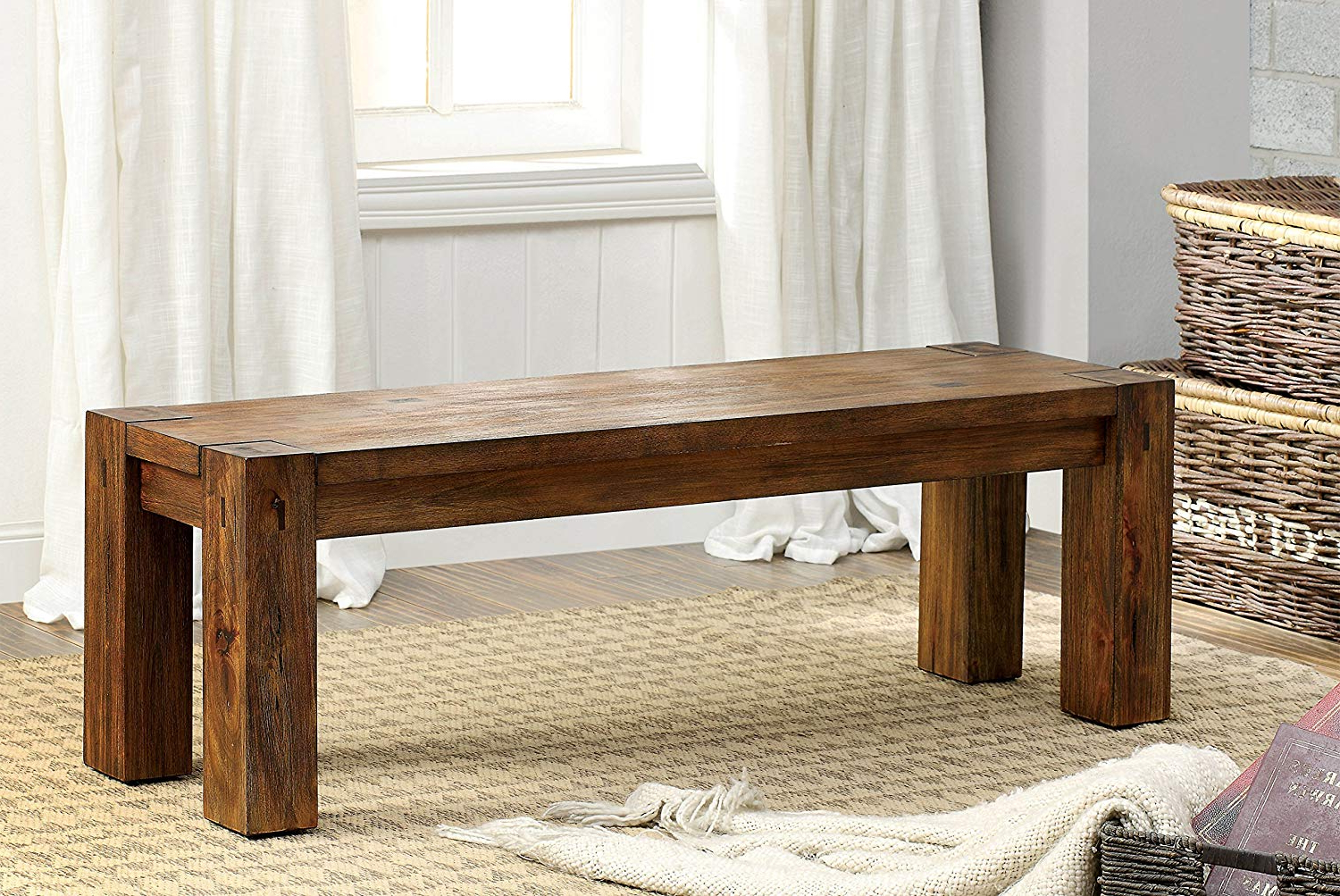 Amazon – Furniture Of America Maynard Wooden Dining Bench With Well Known Maynard 5 Piece Dining Sets (View 2 of 25)