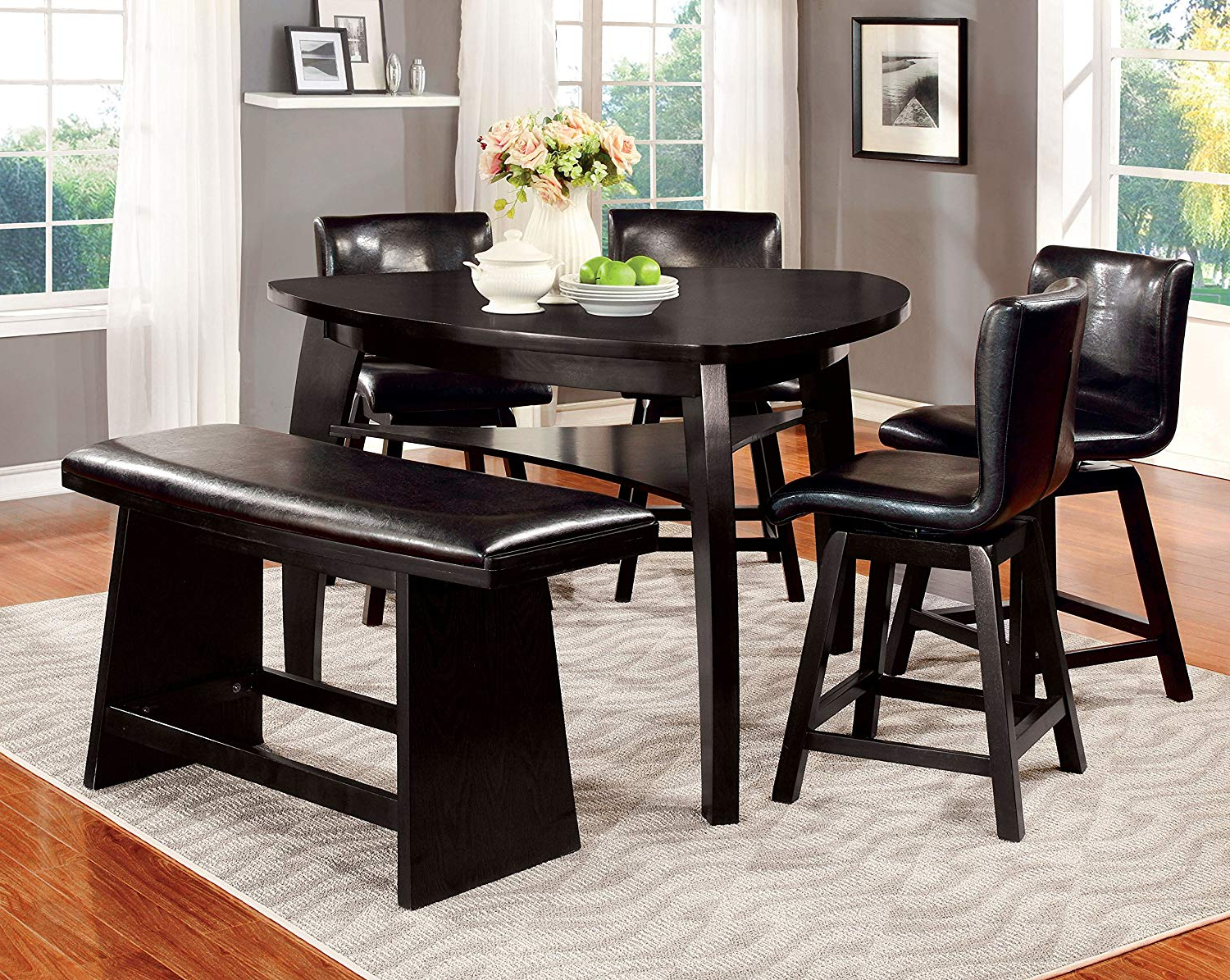 Amazon – Furniture Of America Morley Pub Dining Table, Black Inside Most Recently Released Amir 5 Piece Solid Wood Dining Sets (Set Of 5) (View 4 of 25)