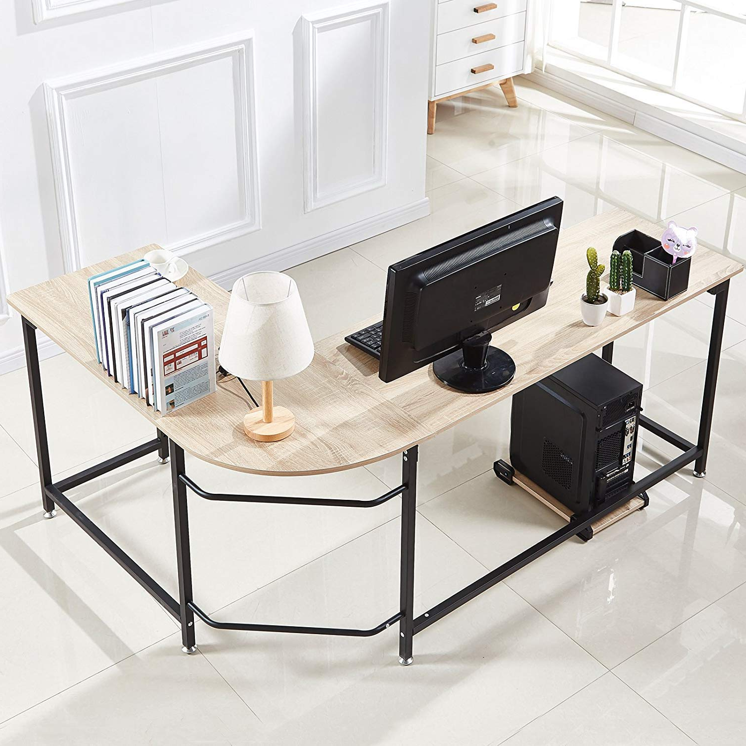 Amazon: Hago Modern L Shaped Desk Corner Computer Desk Home With Favorite Yedinak 5 Piece Solid Wood Dining Sets (View 22 of 25)