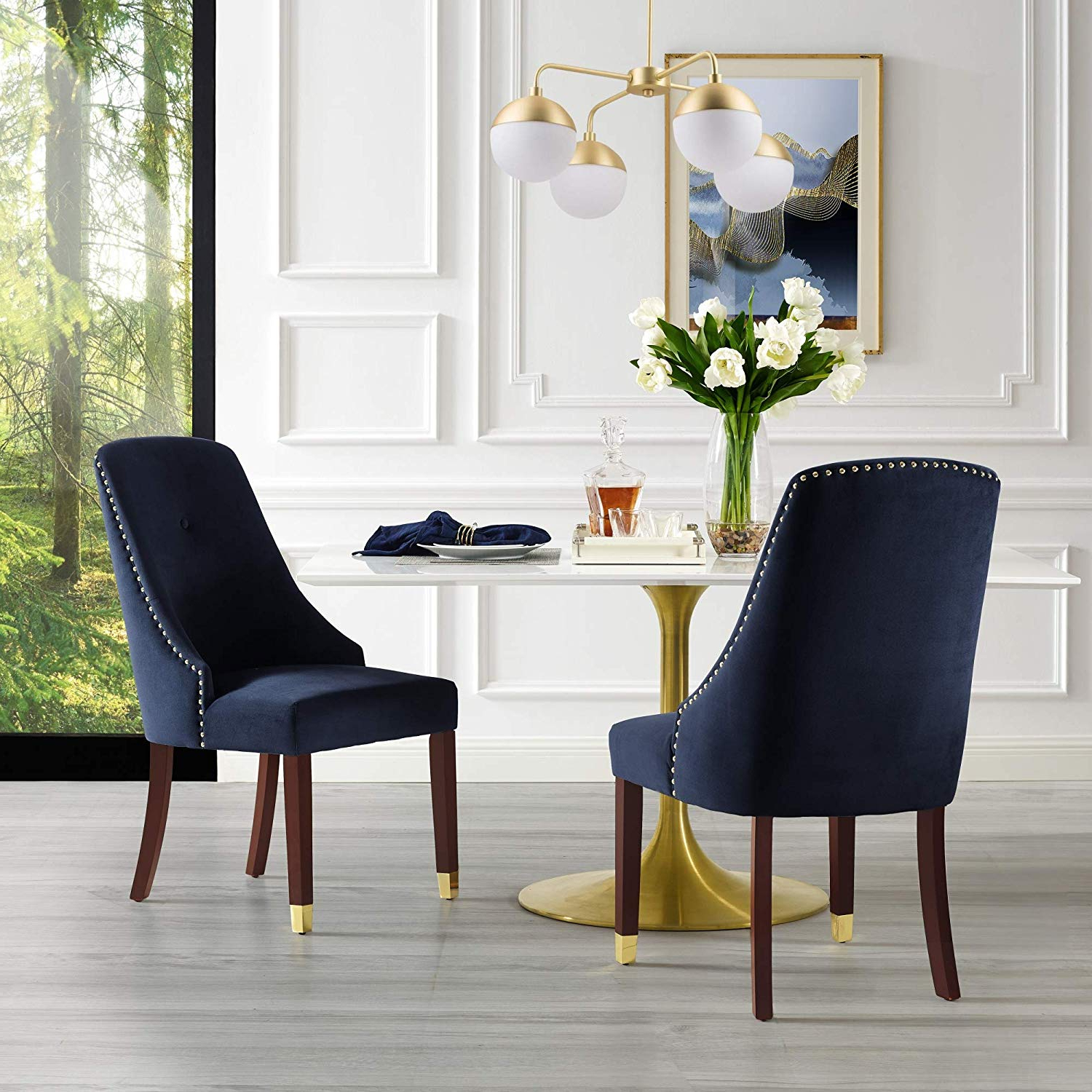 Amazon – Inspiredhome Navy Velvet Dining Chair – Design: Aria With Fashionable Aria 5 Piece Dining Sets (View 5 of 25)