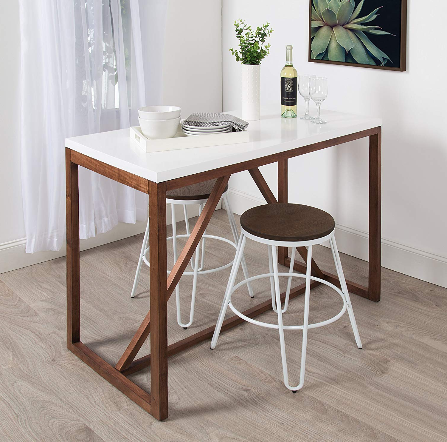 Amazon: Kate And Laurel Kaya 36 Inch Tall Pub/bar Table, Two In Fashionable Kaya 3 Piece Dining Sets (View 4 of 25)