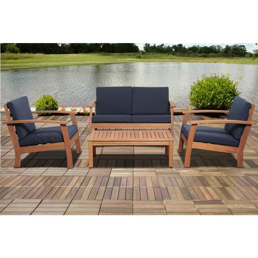 Amazonia Giles 4 Piece Eucalyptus Patio Deep Seating Set With Blue In Most Recent Giles 3 Piece Dining Sets (View 15 of 25)