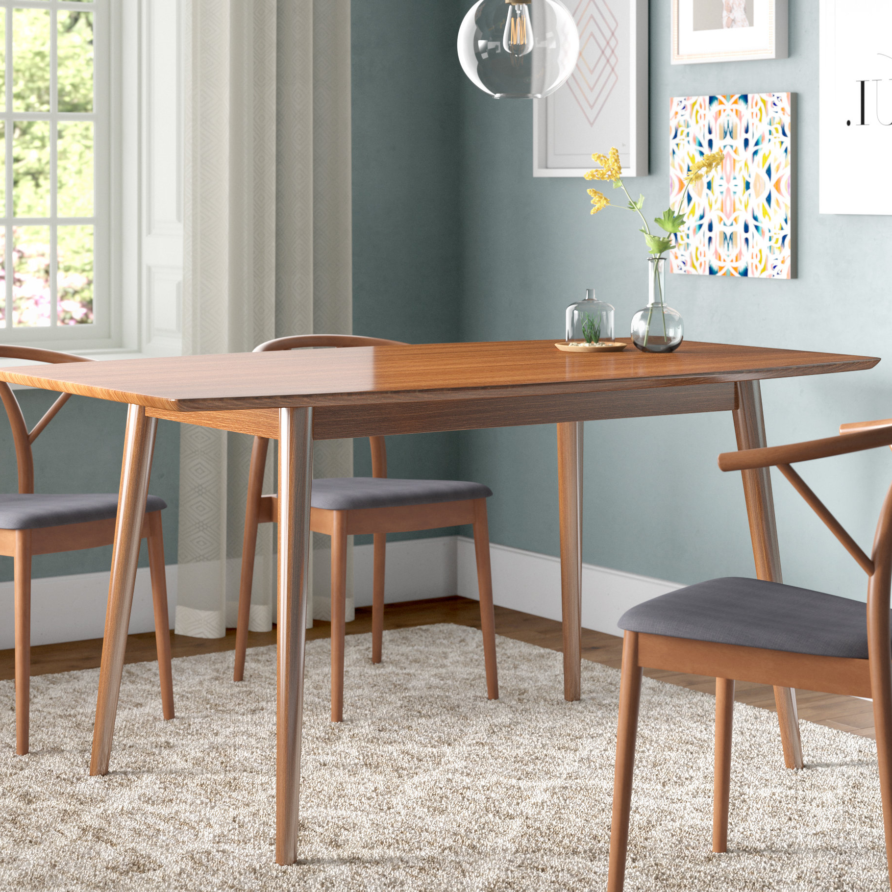 Amir 5 Piece Solid Wood Dining Sets (Set Of 5) In Favorite Corrigan Studio Weller Mid Century Dining Table & Reviews (View 3 of 25)