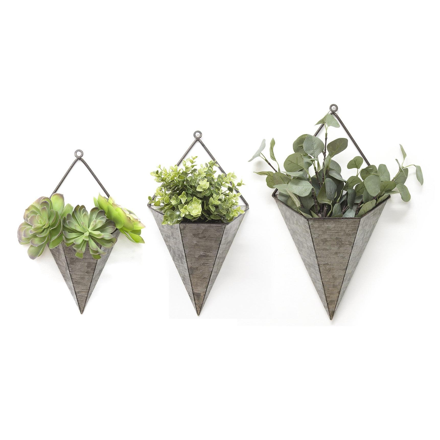 Amoroso Triangular Galvanized 3 Piece Metal Wall Planters Set Regarding Best And Newest Wallflower 3 Piece Dining Sets (View 2 of 25)