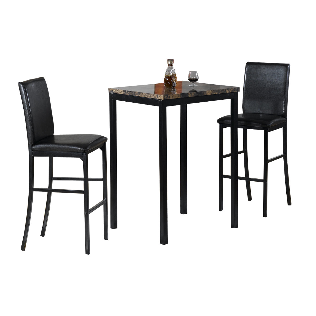 Anette 3 Piece Counter Height Dining Sets For 2020 Hazelwood Home Della 3 Piece Bistro Pub Table Set & Reviews (View 3 of 25)