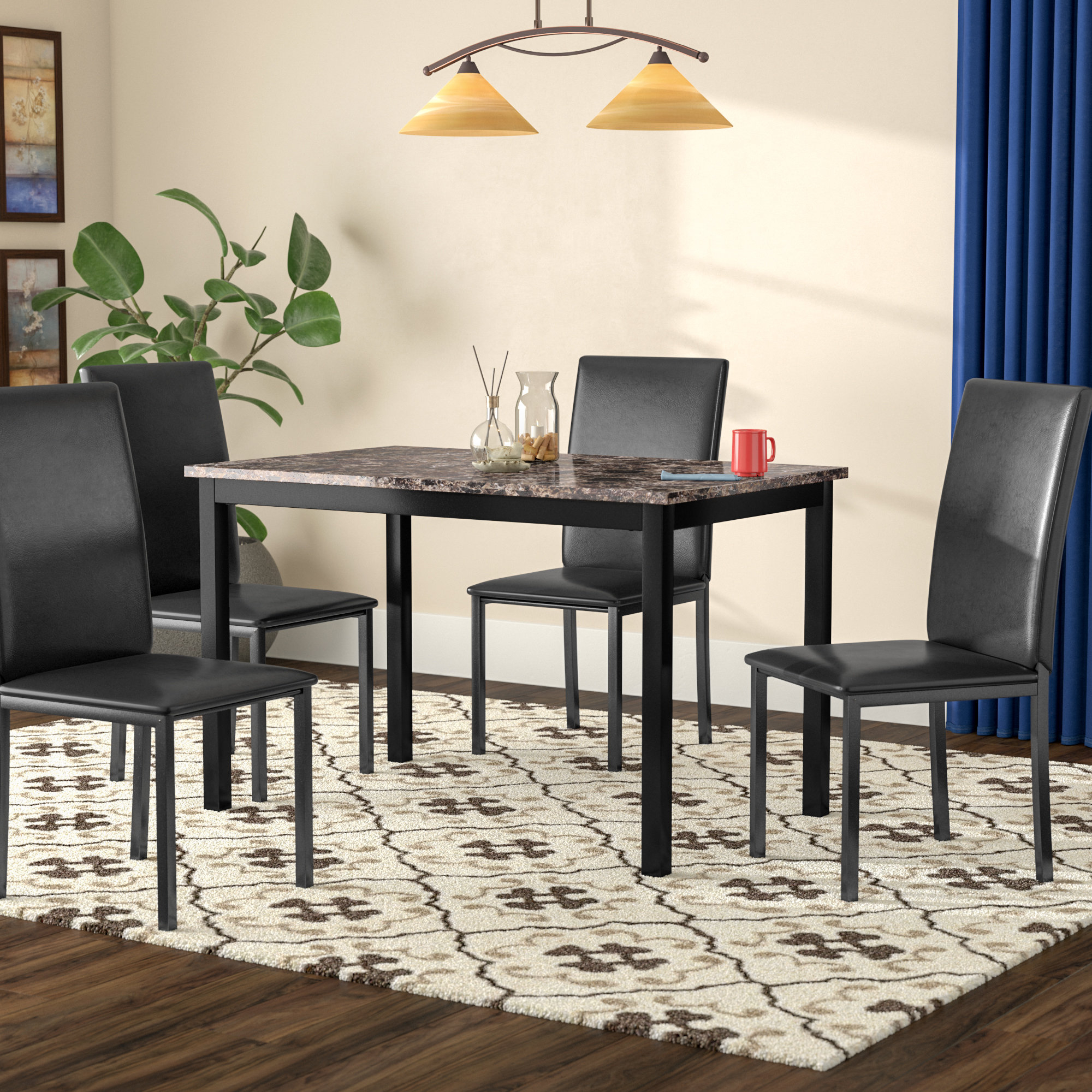 Anette 3 Piece Counter Height Dining Sets Regarding Most Up To Date Red Barrel Studio Noyes 5 Piece Dining Set & Reviews (View 6 of 25)