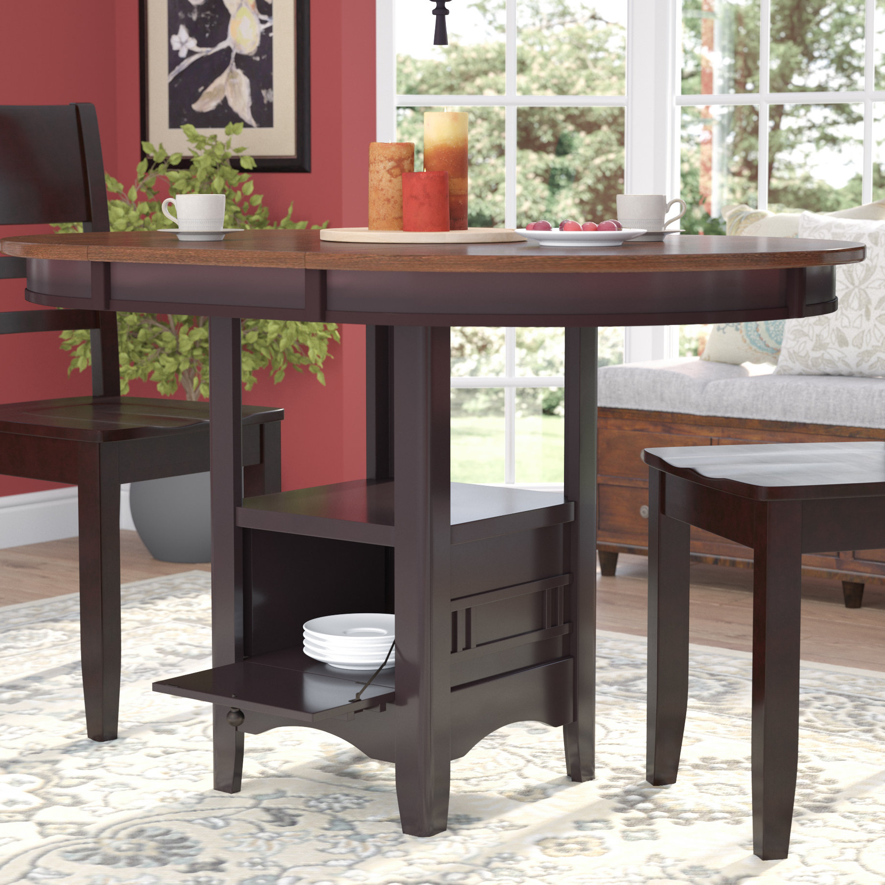 Anette 3 Piece Counter Height Dining Sets Throughout Widely Used Darby Home Co Sinkler Counter Height Drop Leaf Dining Table (View 9 of 25)