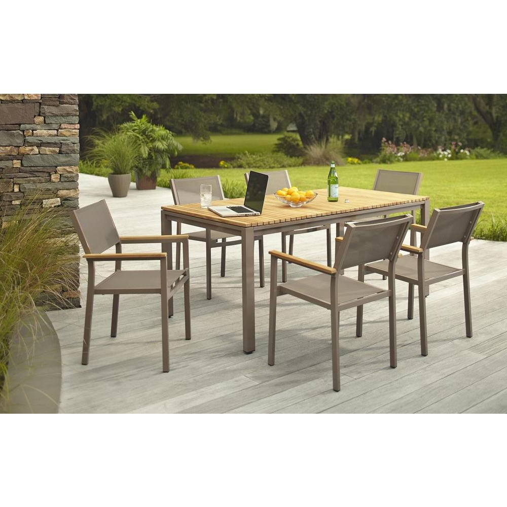 Aria 5 Piece Dining Sets With Widely Used Hampton Bay Barnsdale Teak 7 Piece Patio Dining Set Set T1840+C (View 13 of 25)