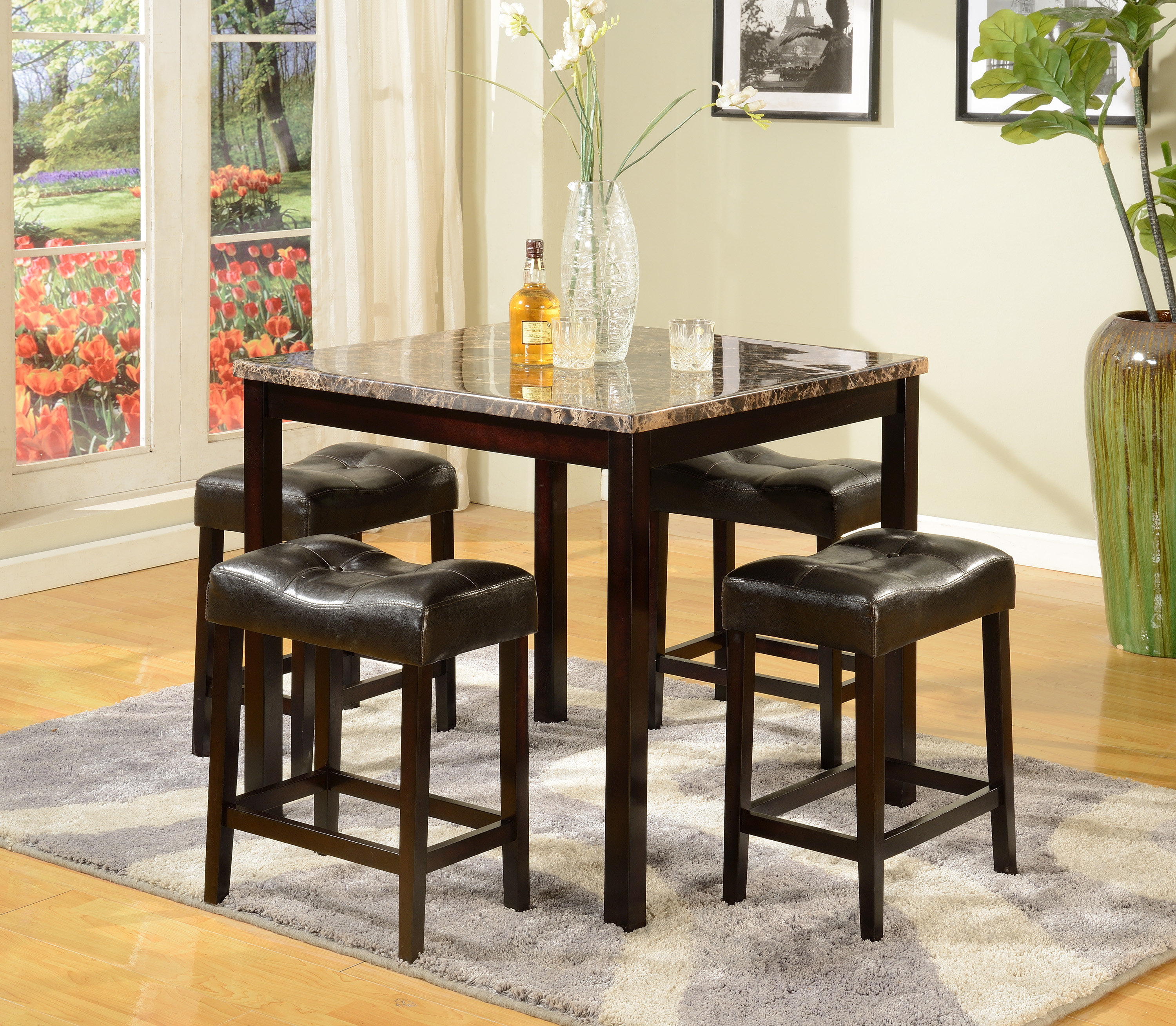 Askern 3 Piece Counter Height Dining Sets (Set Of 3) In Newest Red Barrel Studio Octavia 5 Piece Counter Height Dining Set (View 12 of 25)