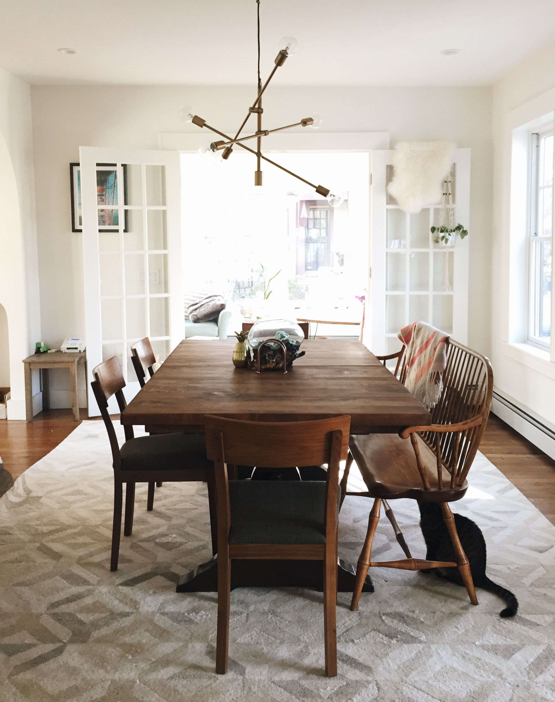 Autberry 5 Piece Dining Sets Inside Most Recent Our Dining Room! West Elm Marquis Rug West Elm Mobile Pendant (View 17 of 25)