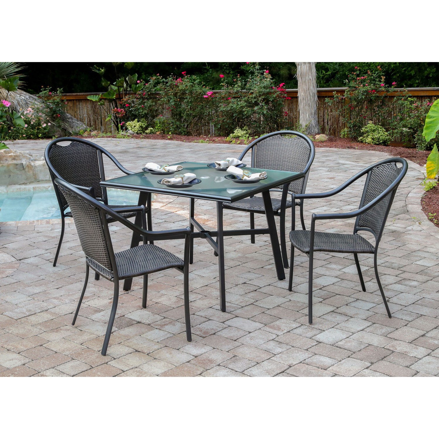 Bearden 3 Piece Dining Sets With Regard To Recent Charlton Home Bearden 5 Piece Commercial Grade Patio Set With (View 17 of 25)