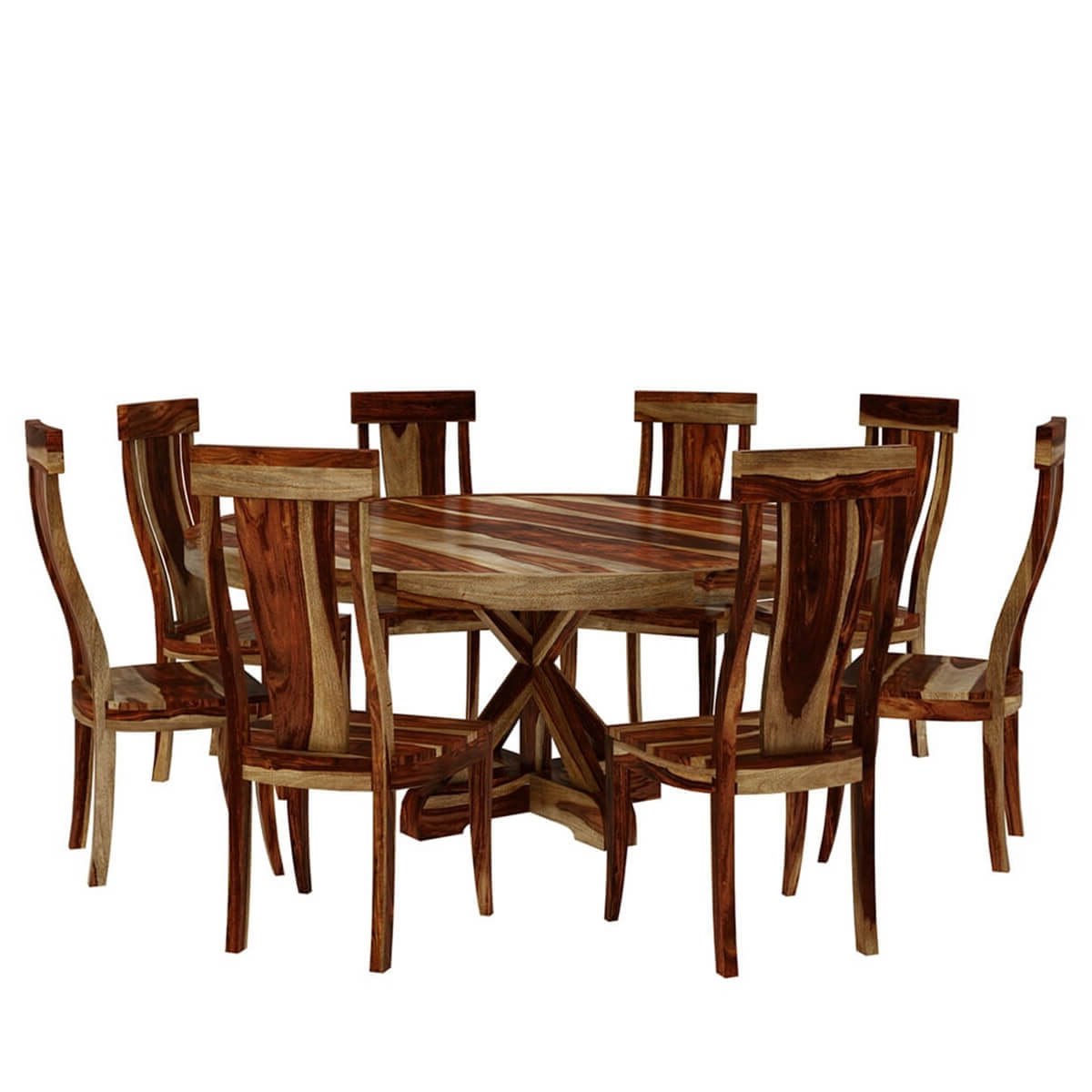 "Bedford X Pedestal Rustic 72"" Round Dining Table With 8 Chairs Set For Most Recent Bedfo 3 Piece Dining Sets (View 6 of 25)"