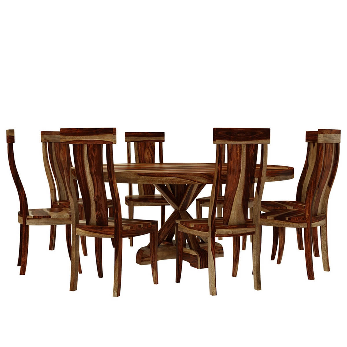 "Bedford X Pedestal Rustic 72"" Round Dining Table With 8 Chairs Set Inside Recent Bedfo 3 Piece Dining Sets (View 5 of 25)"