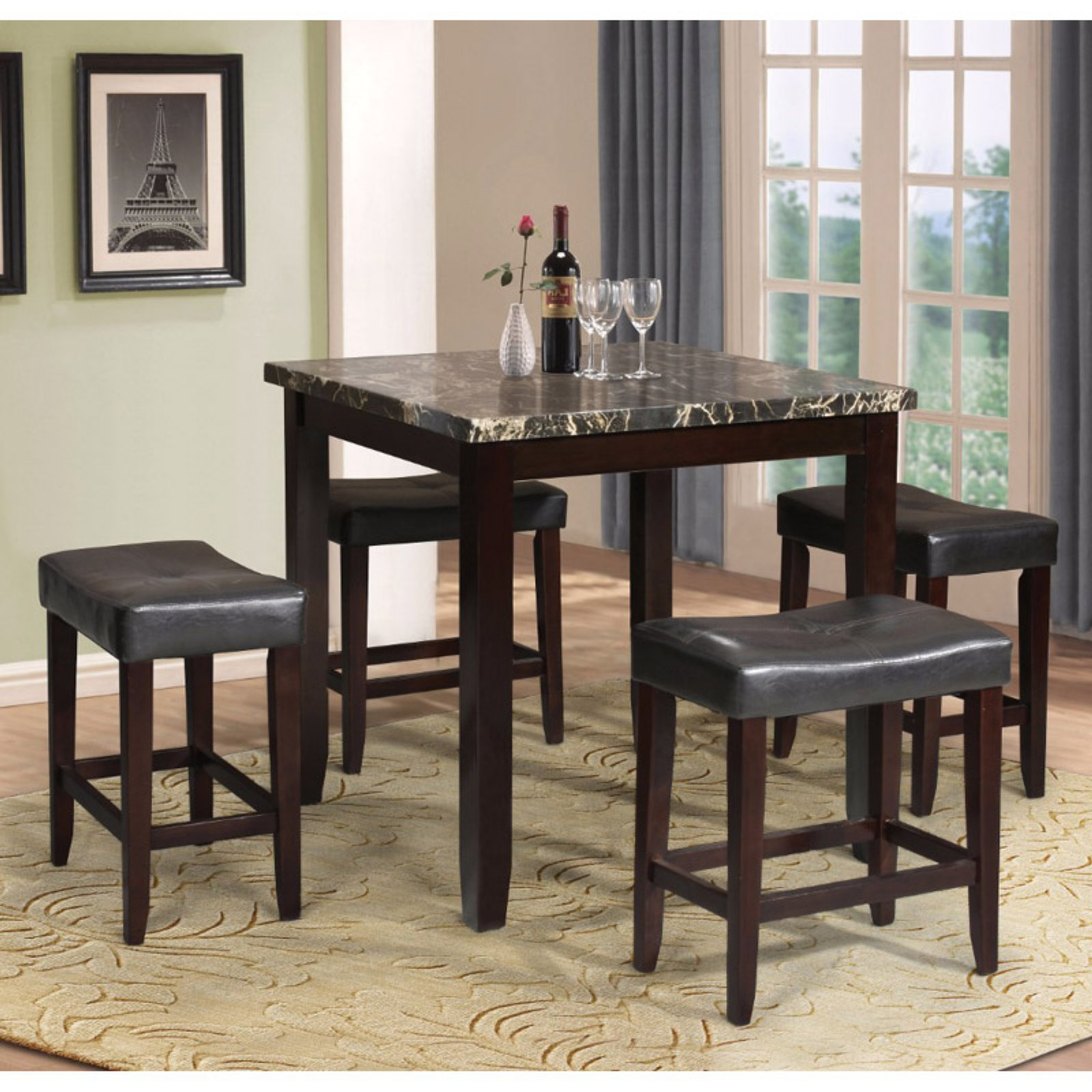 Berrios 3 Piece Counter Height Dining Sets Inside Famous Benzara Modish 5 Piece Faux Marble Counter Height Dining Table Set (View 14 of 25)