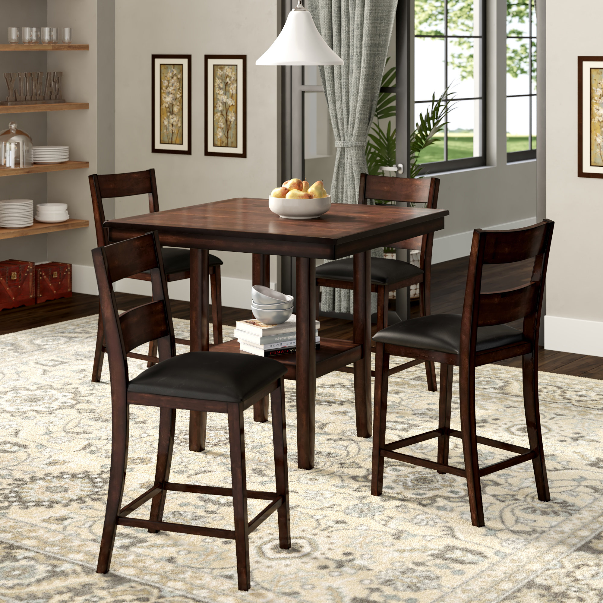 Berrios 3 Piece Counter Height Dining Sets Inside Fashionable Winston Porter Juno 5 Piece Counter Height Dining Set & Reviews (View 13 of 25)