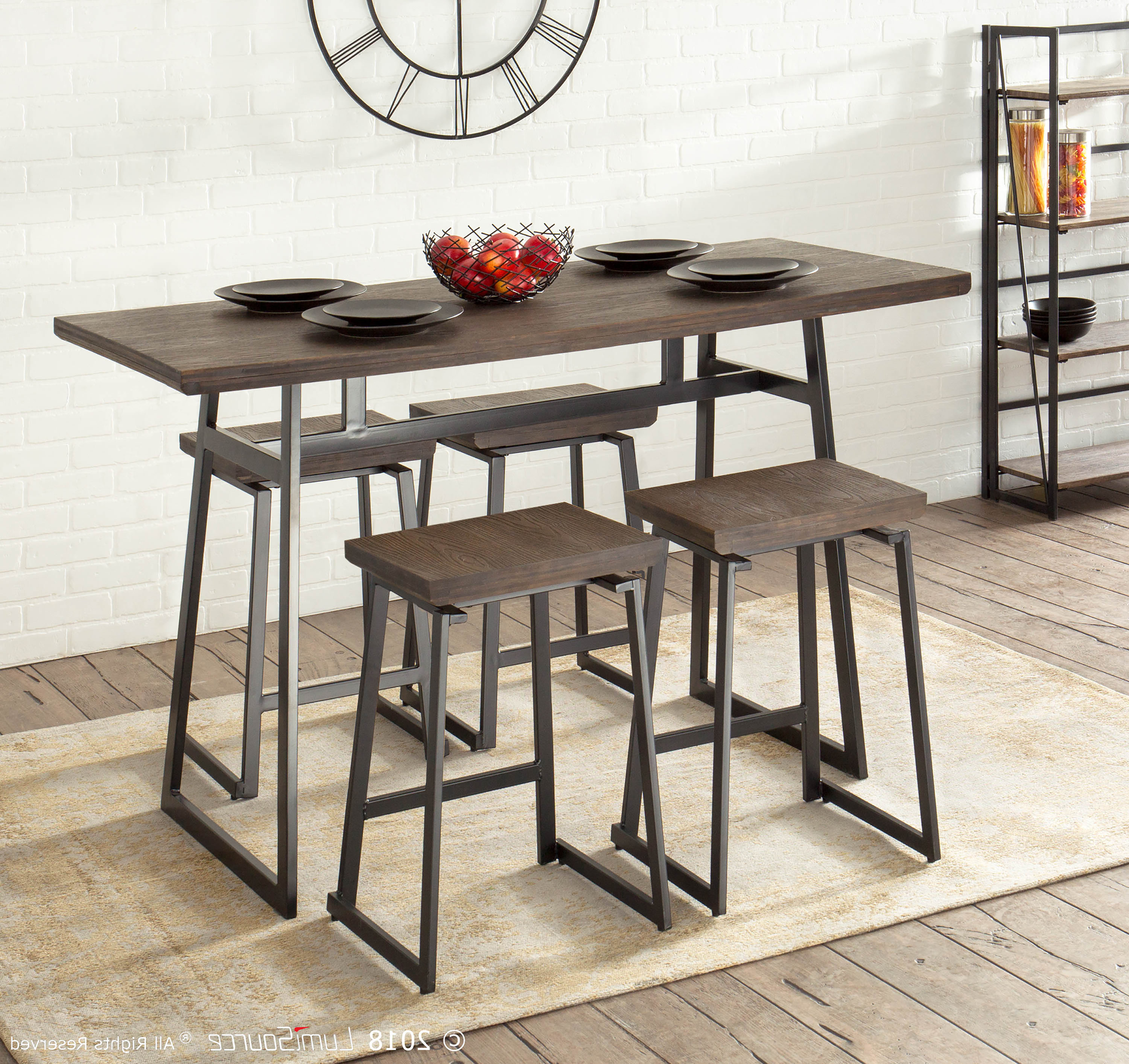 Berrios 3 Piece Counter Height Dining Sets Intended For Well Liked Cassiopeia Industrial 5 Piece Counter Height Dining Set & Reviews (View 8 of 25)