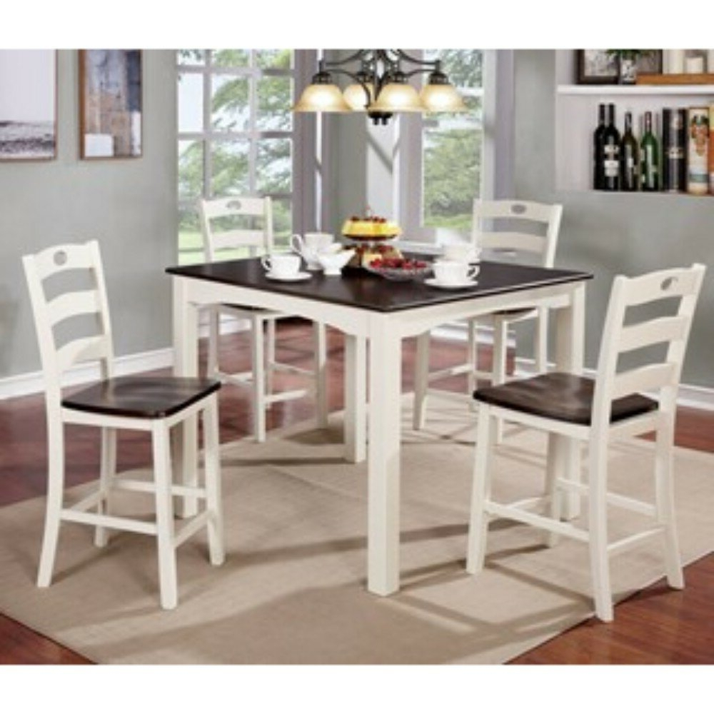 Best And Newest August Grove Valladares 5 Piece Counter Height Solid Wood Dining Set For Valladares 3 Piece Pub Table Sets (View 5 of 25)