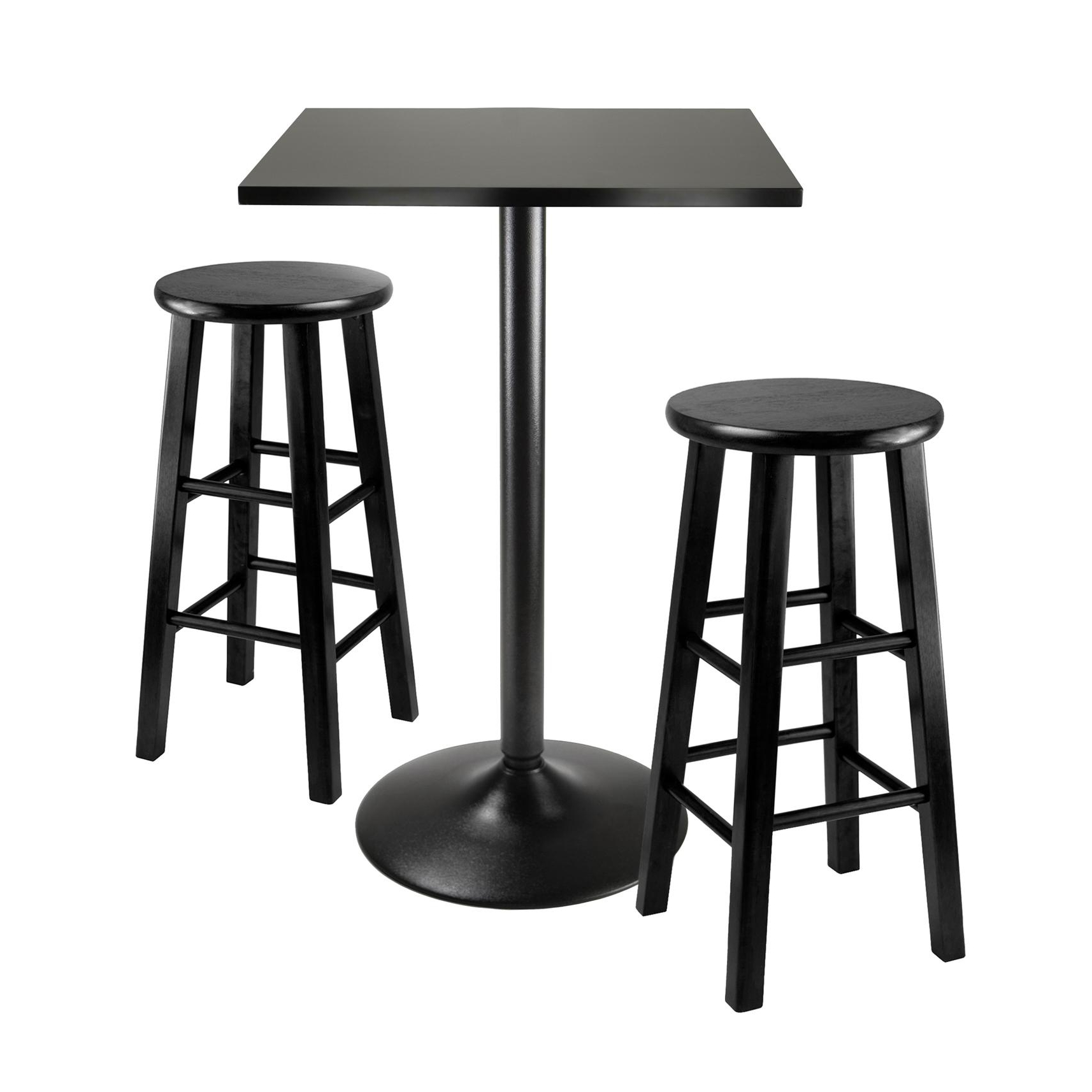 Best And Newest Crownover 3 Piece Bar Table Sets Inside Amazon – Winsome Obsidian 3 Piece Pub Table Set – Table & Chair Sets (View 3 of 25)