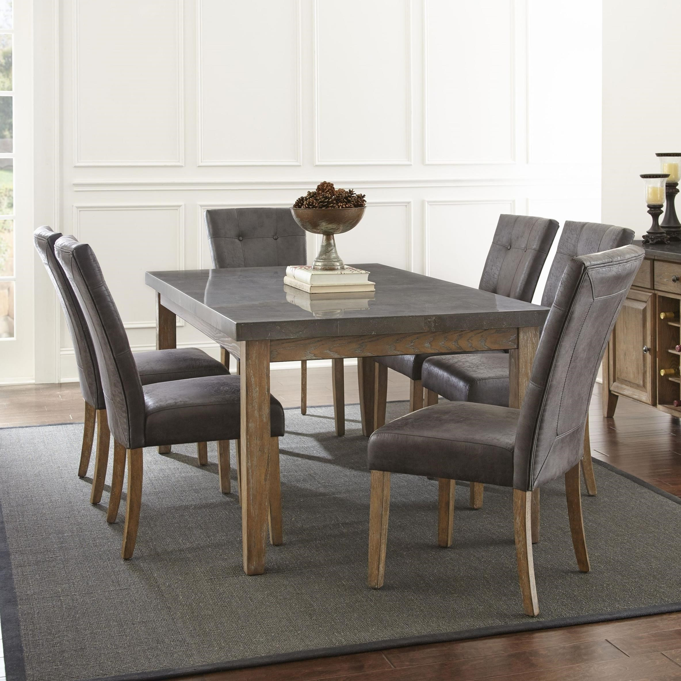 Best And Newest Debby Small Space 3 Piece Dining Sets With Debby 7 Piece Transitional Table And Chair Set With Bluestone Topsteve  Silver At Wayside Furniture (View 2 of 25)