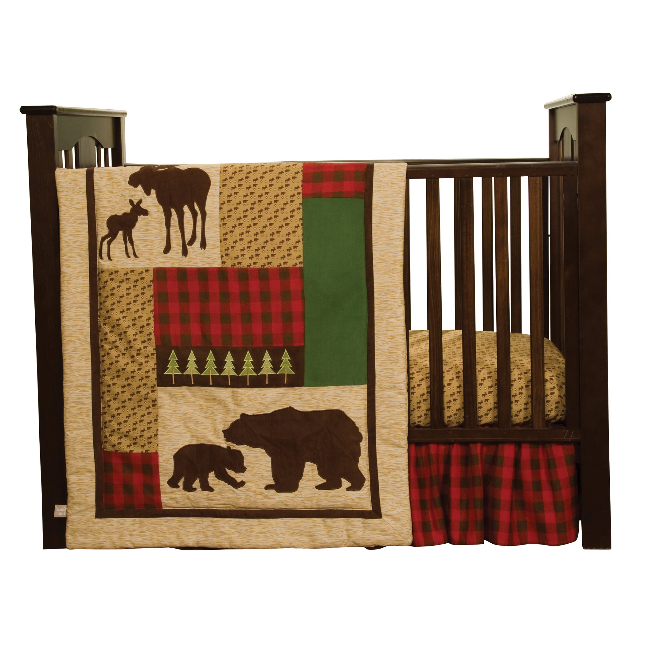 Best And Newest Northwoods 3 Piece Dining Sets Within Shop Northwoods 3 Piece Buffalo Check Crib Bedding Set – Free (View 4 of 25)