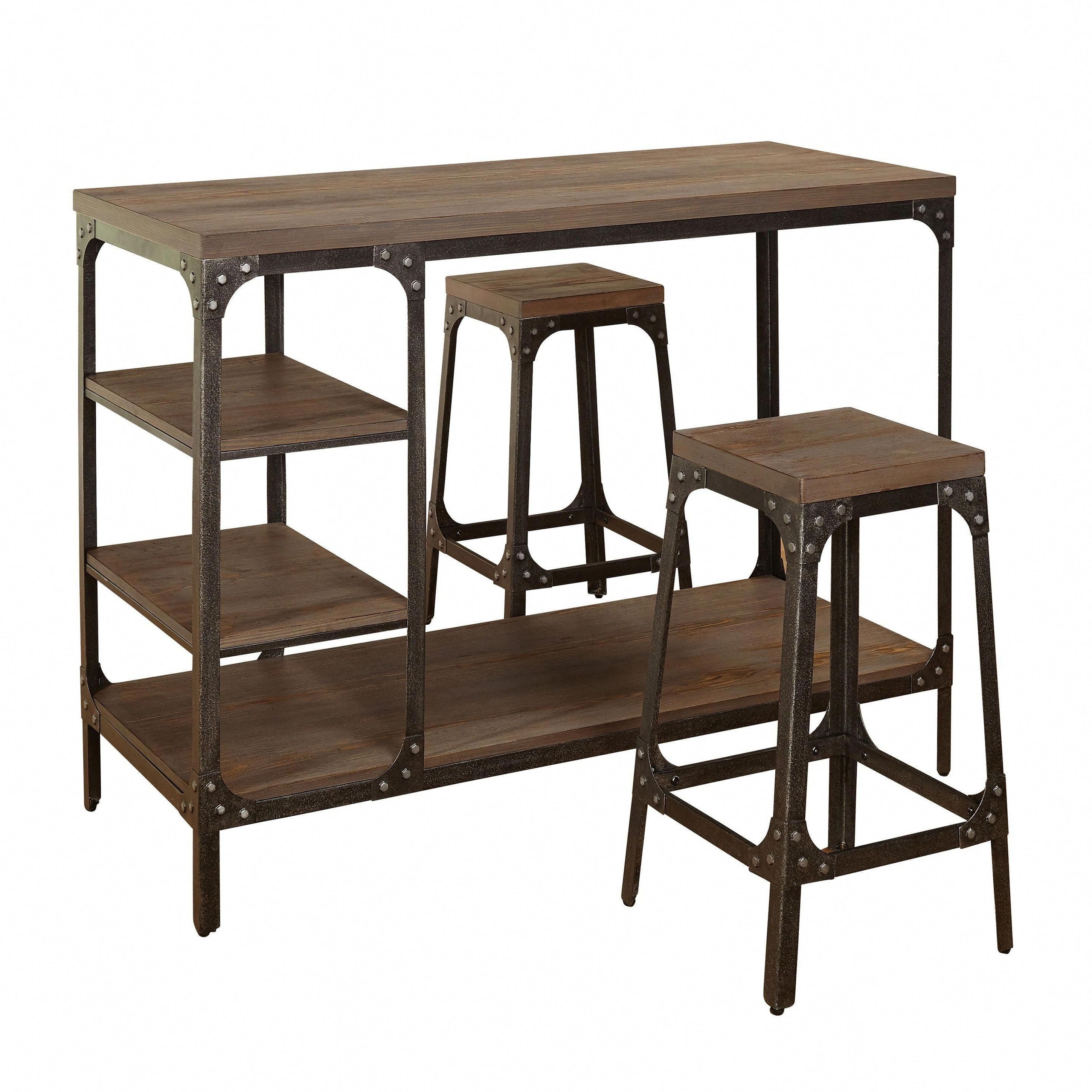 Best And Newest Simple Living Scholar Vintage Industrial 3 Piece Counter Height Pertaining To Kerley 4 Piece Dining Sets (View 6 of 25)