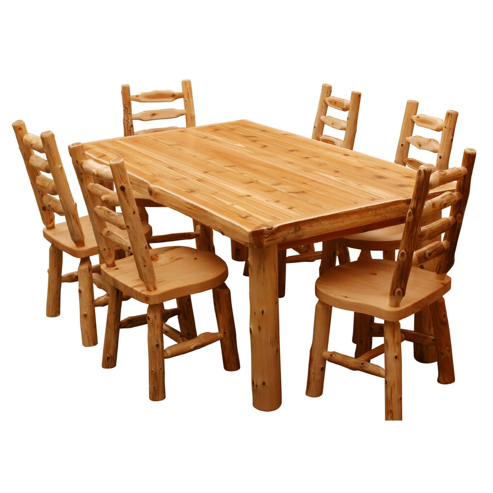 Best And Newest Solid Cedar Log Dining Table Wood High Quality Cabin Western Lodge Within Northwoods 3 Piece Dining Sets (View 5 of 25)