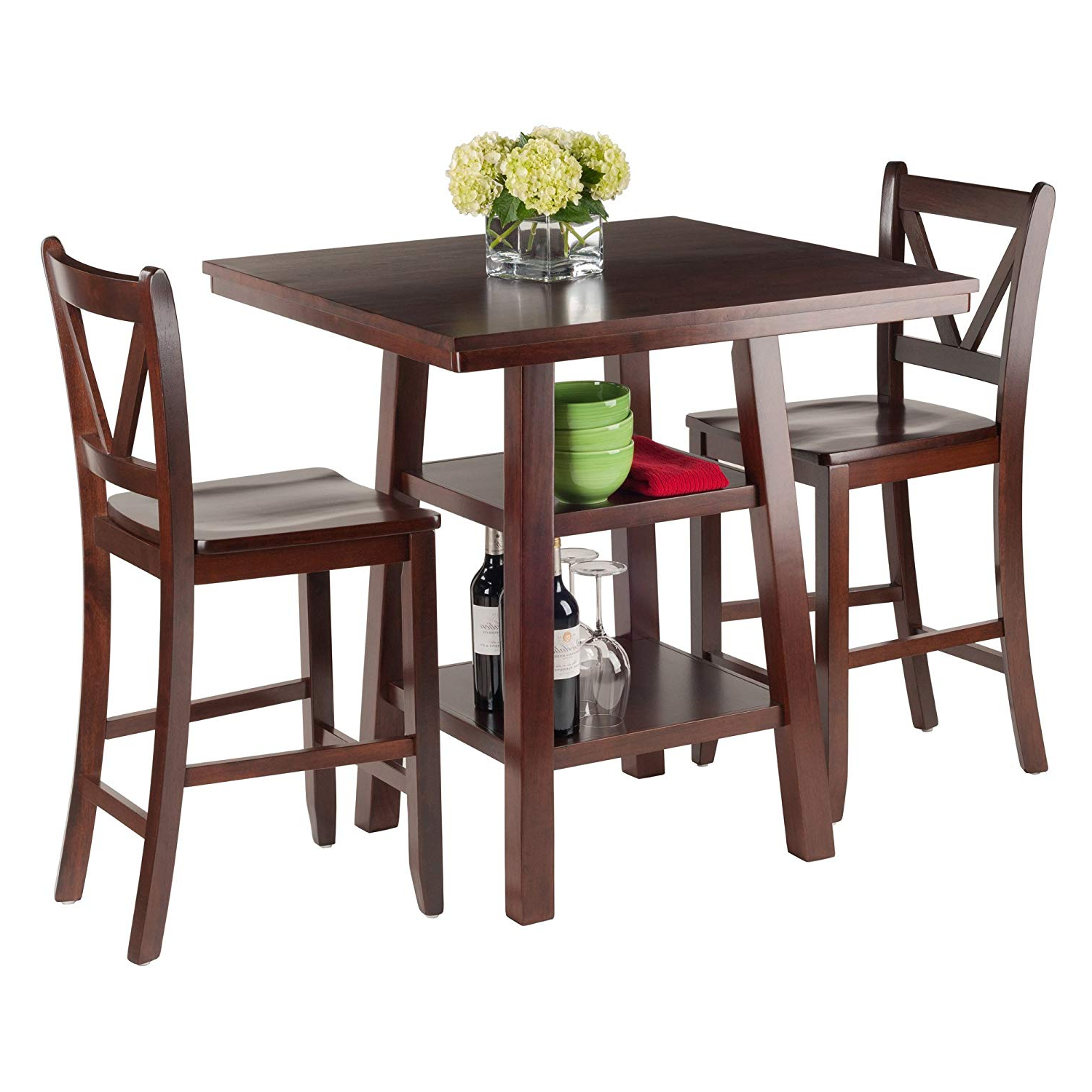 Best And Newest Winsome 3 Piece Counter Height Dining Sets Regarding Amazon: Winsome Wood Orlando 3 Piece Set High Table, 2 Shelves (View 3 of 25)