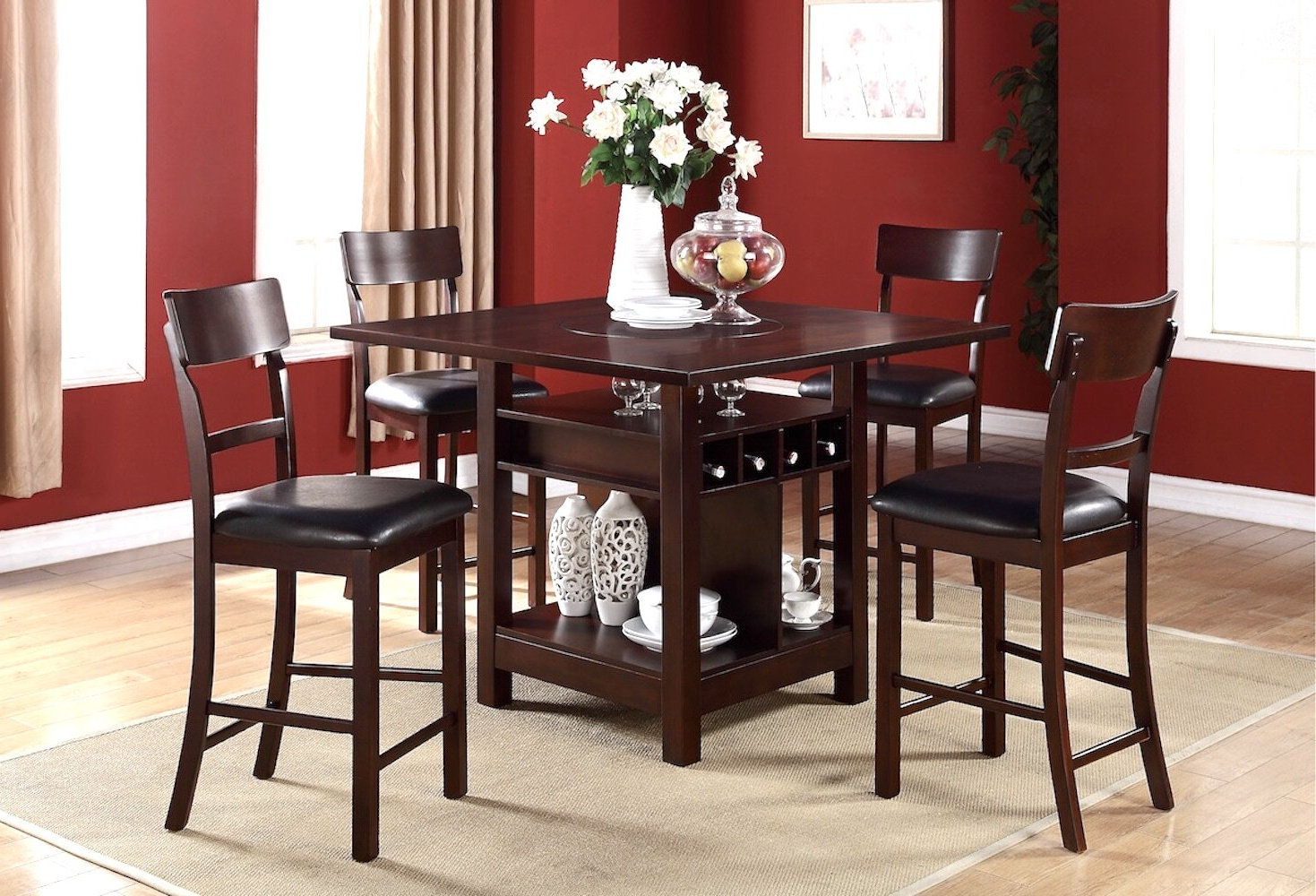 Biggs 5 Piece Counter Height Solid Wood Dining Sets (Set Of 5) Intended For Recent Canora Grey Stevenson 5 Piece Pub Table Set (View 5 of 25)