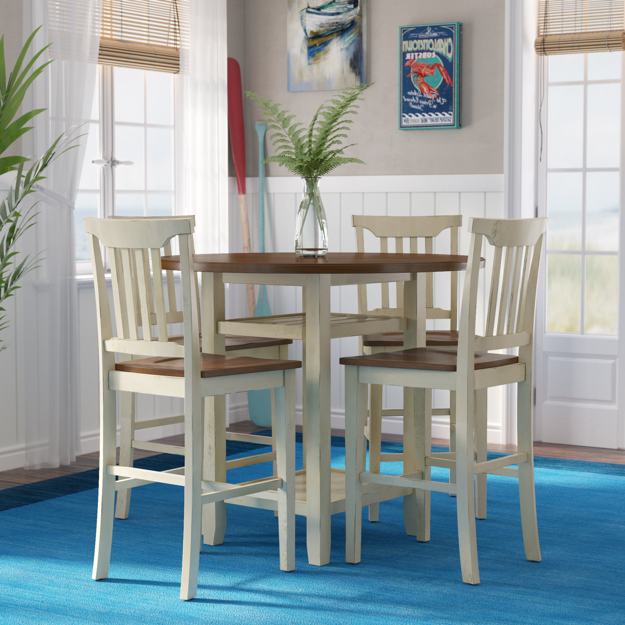 Breakwater Bay Eastep 5 Piece Counter Height Breakfast Nook Dining With Trendy 5 Piece Breakfast Nook Dining Sets (View 19 of 25)