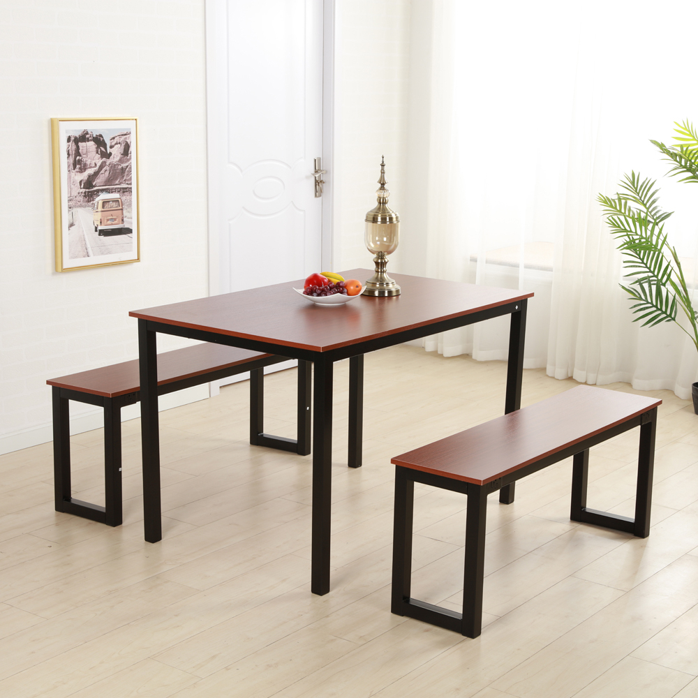 Brown Dining Table Set 3 Piece Benches Breakfast Nook Steel Frame Regarding Recent Lillard 3 Piece Breakfast Nook Dining Sets (View 2 of 25)