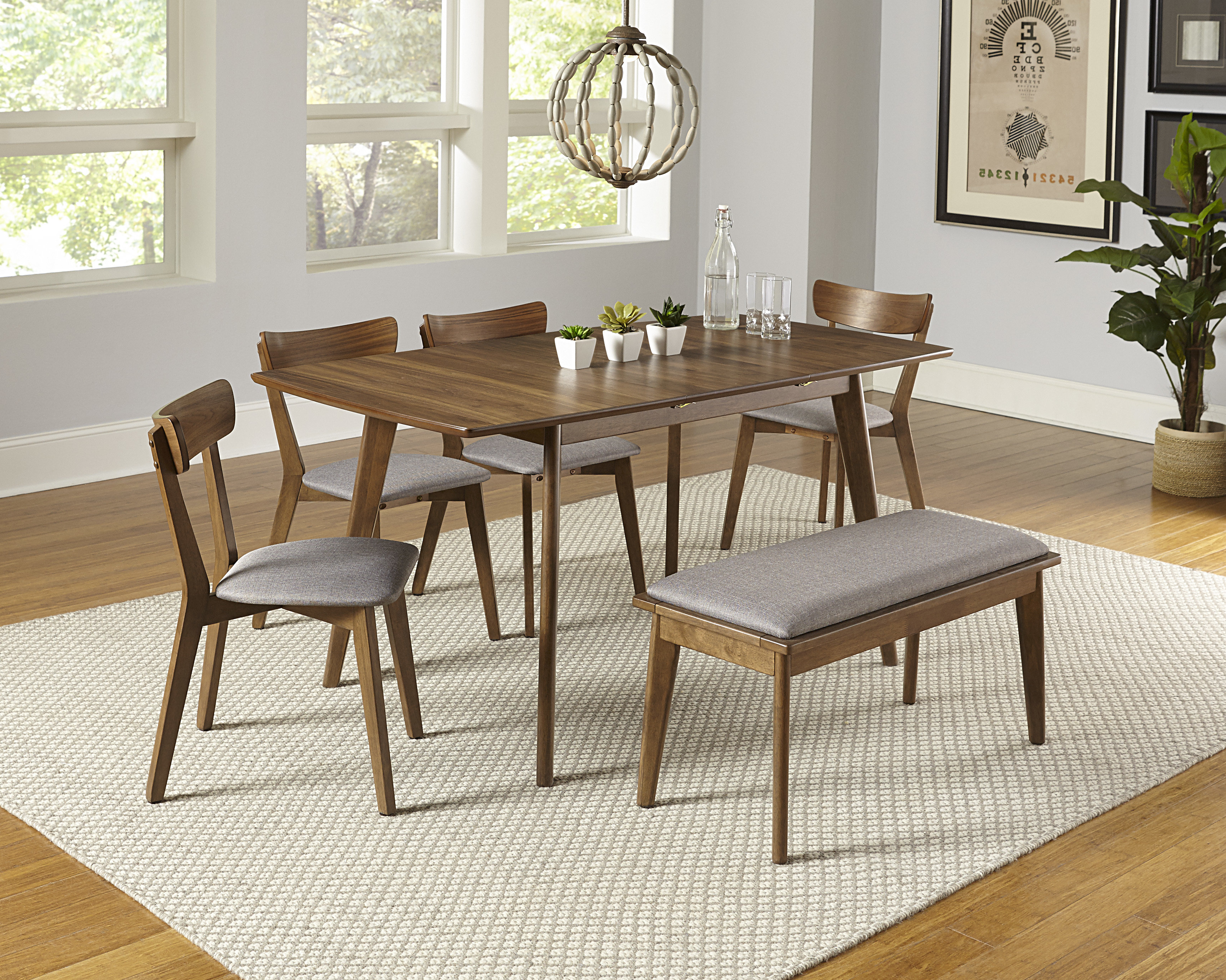 Bungalow Rose Rockaway 6 Piece Extendable Solid Wood Dining Set Regarding Well Liked Kerley 4 Piece Dining Sets (View 3 of 25)