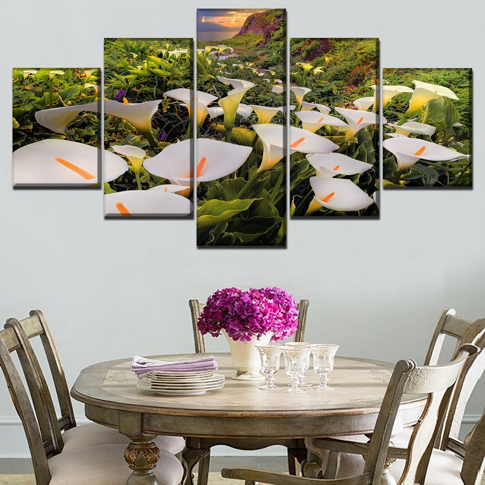 Calla 5 Piece Dining Sets With Regard To Most Popular Canvas Hd Prints Paintings Wall Art 5 Pieces Calla Lily Flower (View 8 of 25)